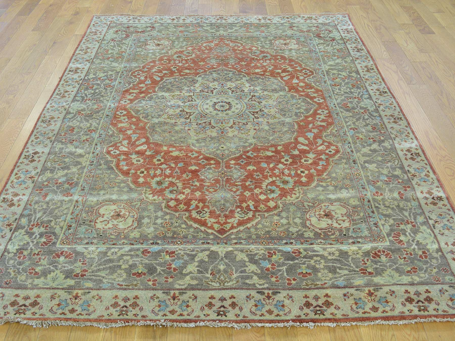 One-of-a-Kind Beason Antiqued Haji Jalili Re-creation Hand-Knotted Red Wool Area Rug