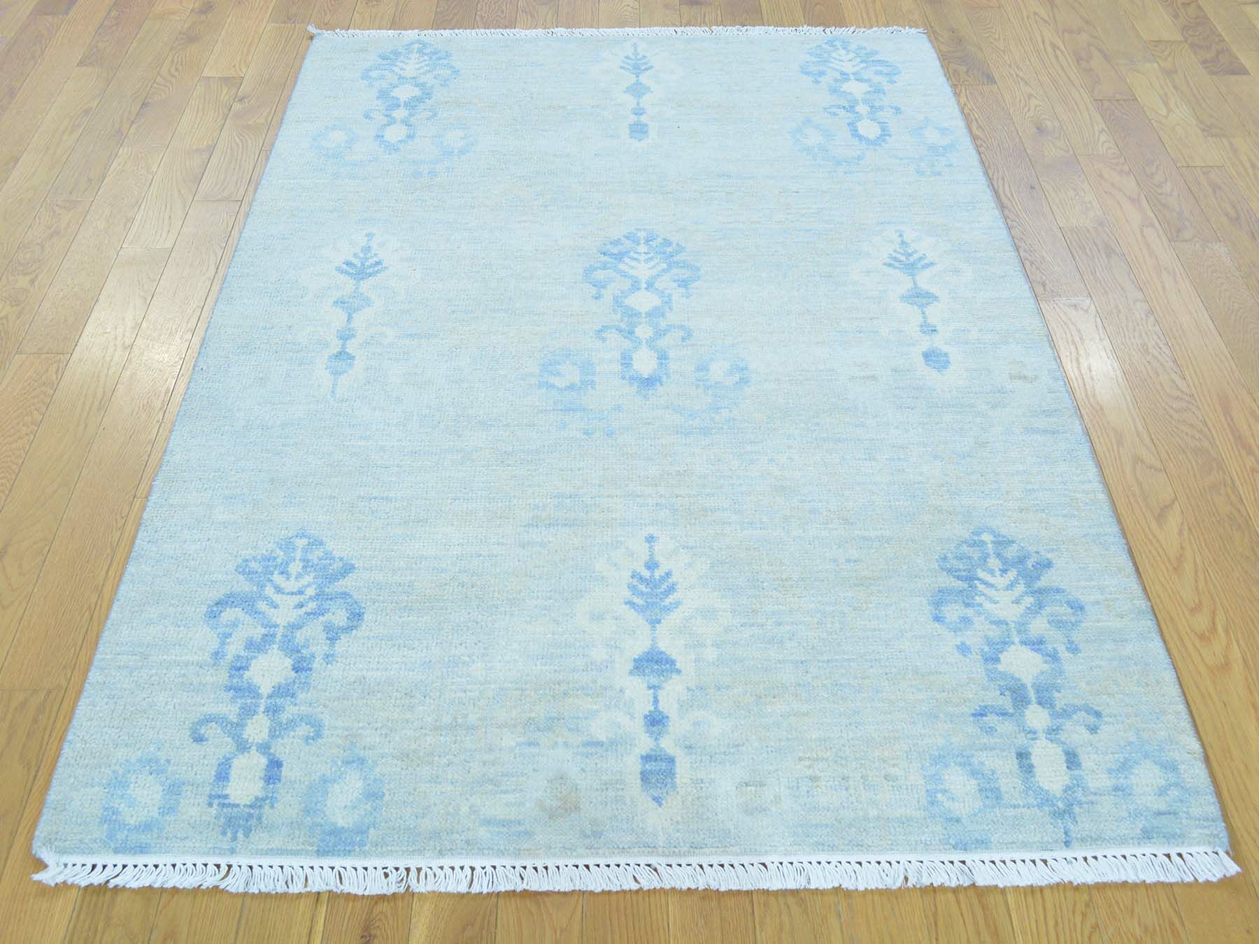 One-of-a-Kind Blythdale Washed Out Ikat Hand-Knotted Blue Wool Area Rug