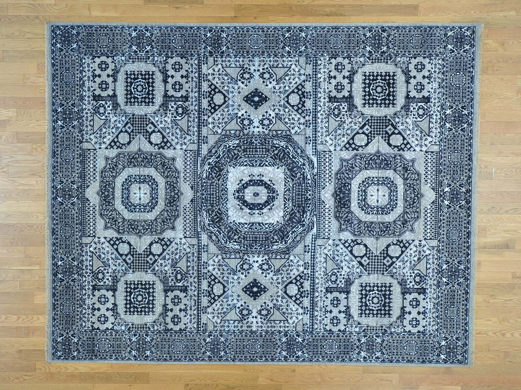 One-of-a-Kind Brackenridge Mamluk Design Hand-Knotted Blue Wool/Silk Area Rug