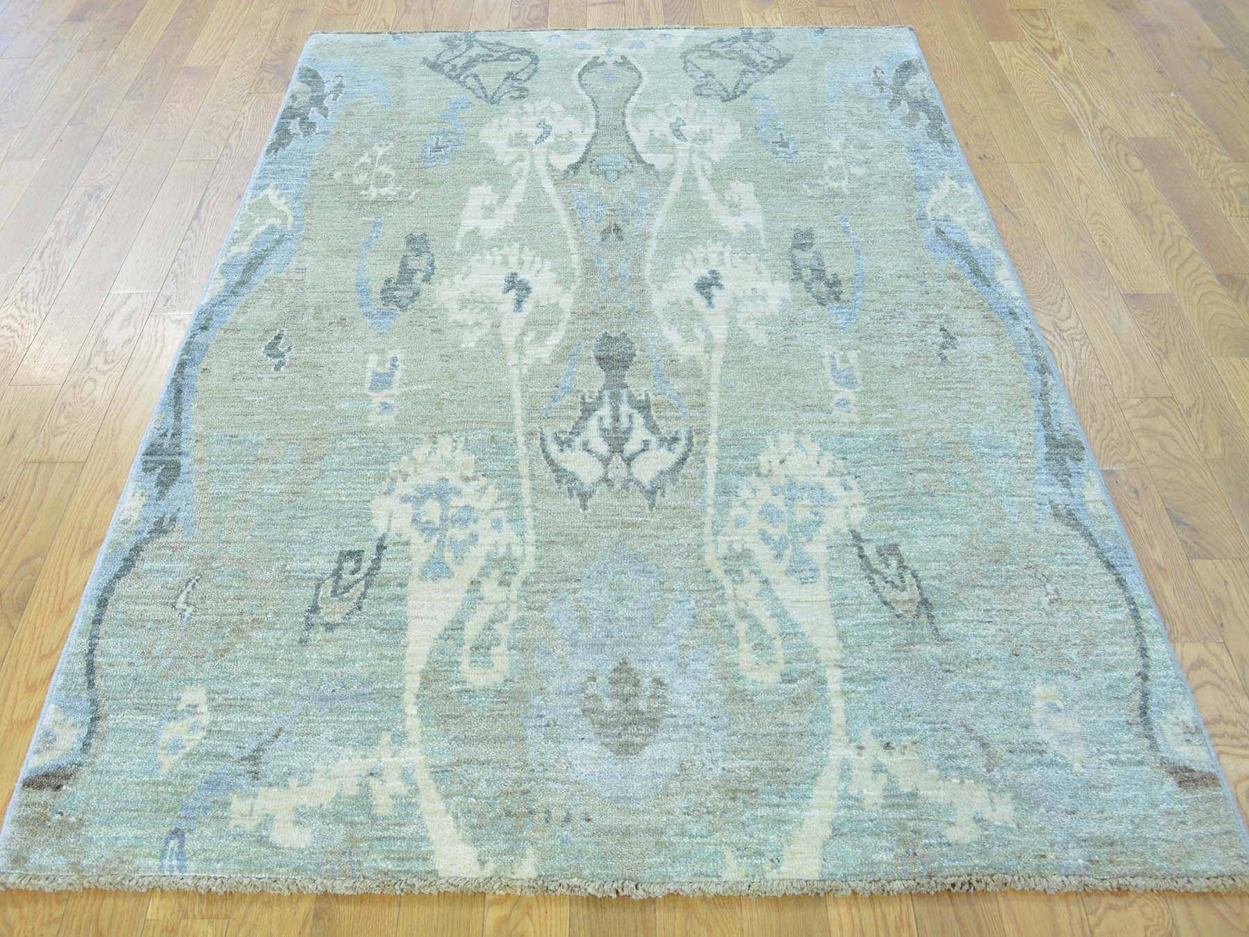 One-of-a-Kind Beaumont Ikat Design Hand-Knotted Grey Wool Area Rug