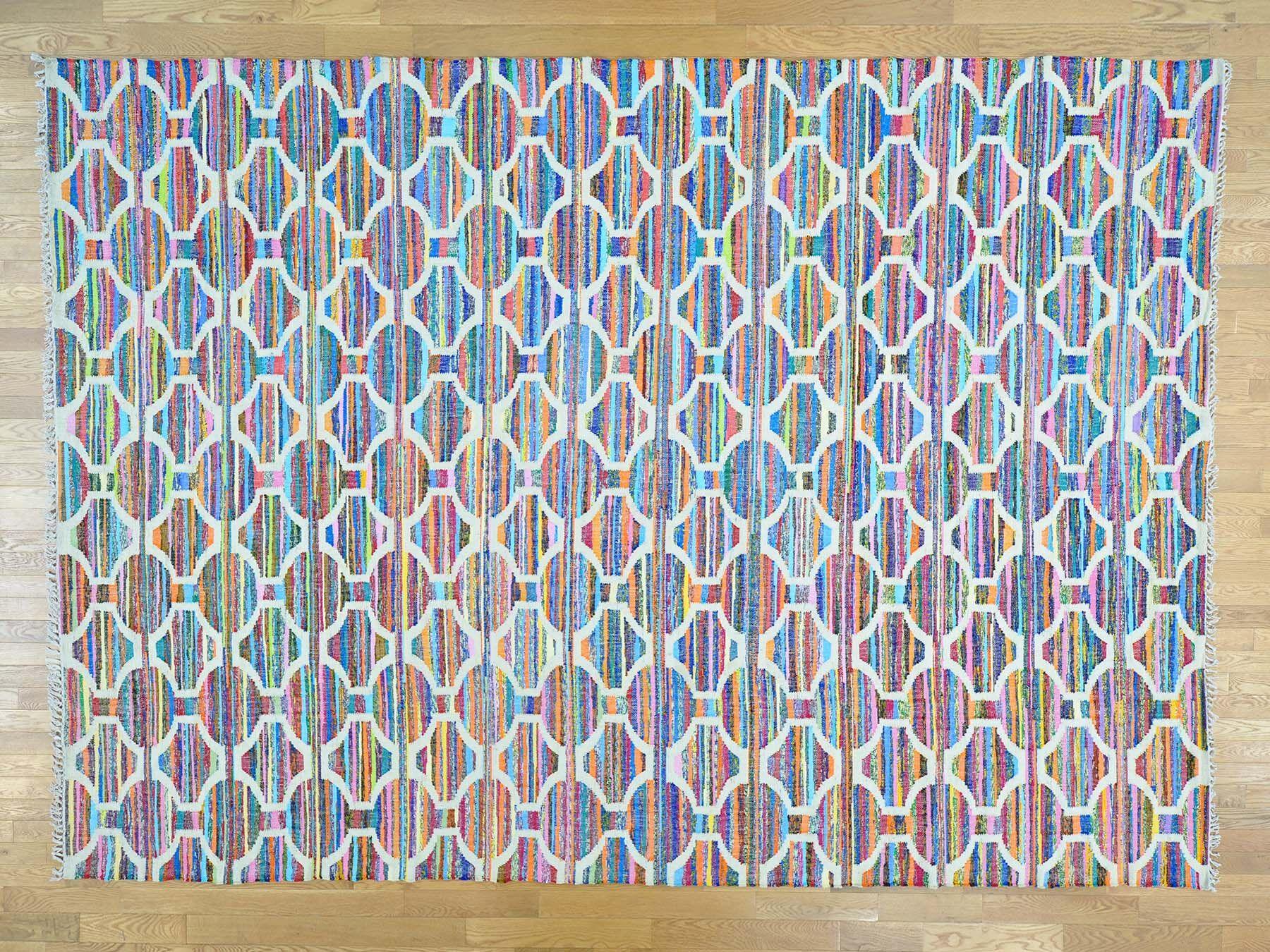 One-of-a-Kind Boylon Geometric Design Handmade Kilim Wool Area Rug