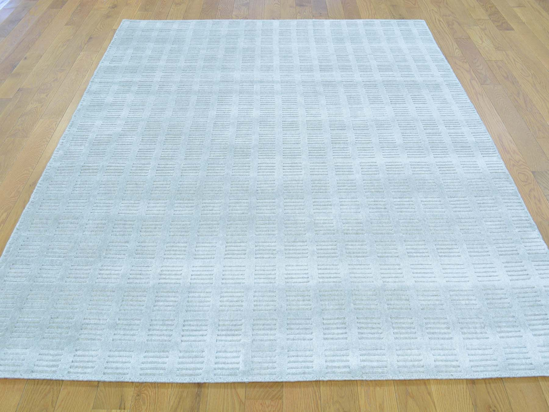 One-of-a-Kind Bean Handwoven Grey Wool/Silk Area Rug