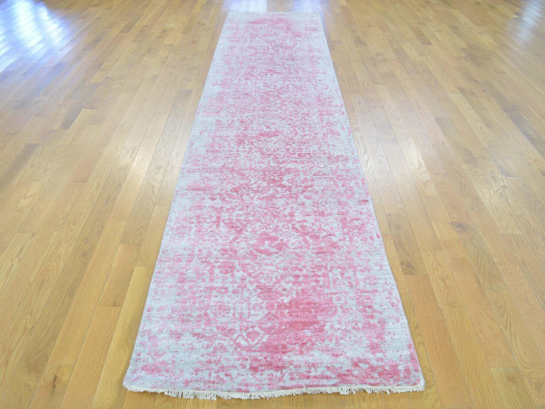 One-of-a-Kind Beane Broken Design Handwoven Pink Wool/Silk Area Rug