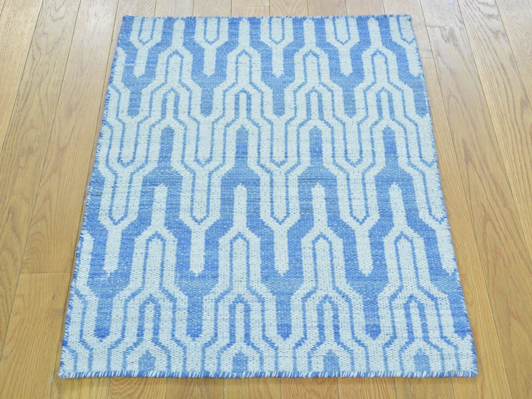 One-of-a-Kind Bottorff Reversible Handmade Kilim Blue Wool Area Rug