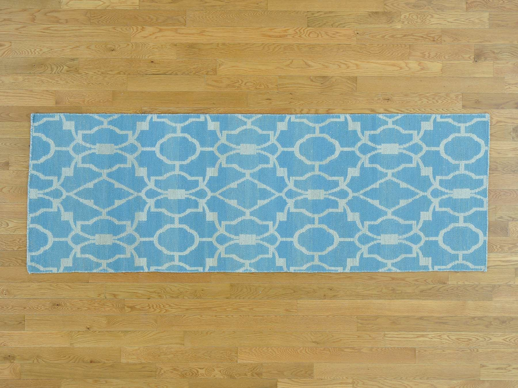 One-of-a-Kind Borger Reversible Handmade Kilim Blue Wool Area Rug