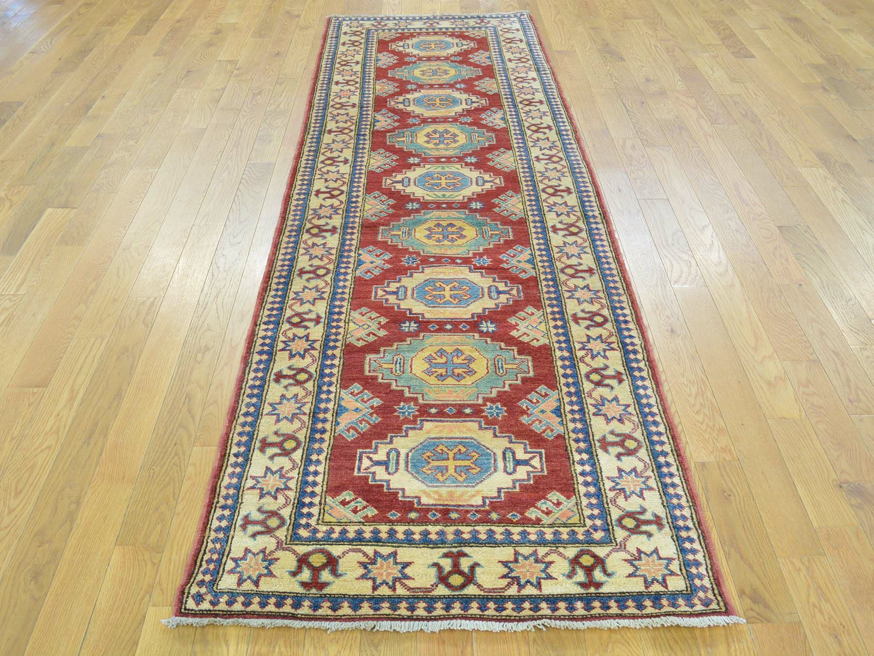 One-of-a-Kind Bechtold Geometric Hand-Knotted Red Wool Area Rug
