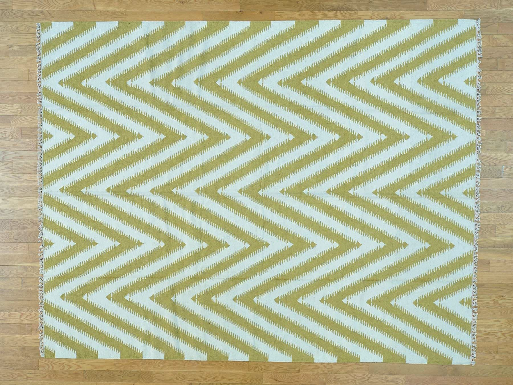 One-of-a-Kind Bradenville Chevron Handmade Kilim Wool Area Rug