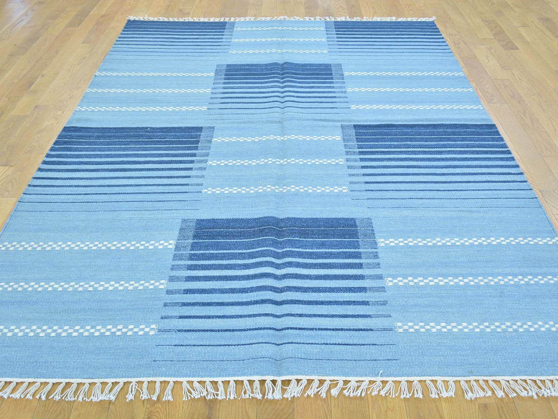 One-of-a-Kind Bessey Reversible Handmade Kilim Blue Wool Area Rug