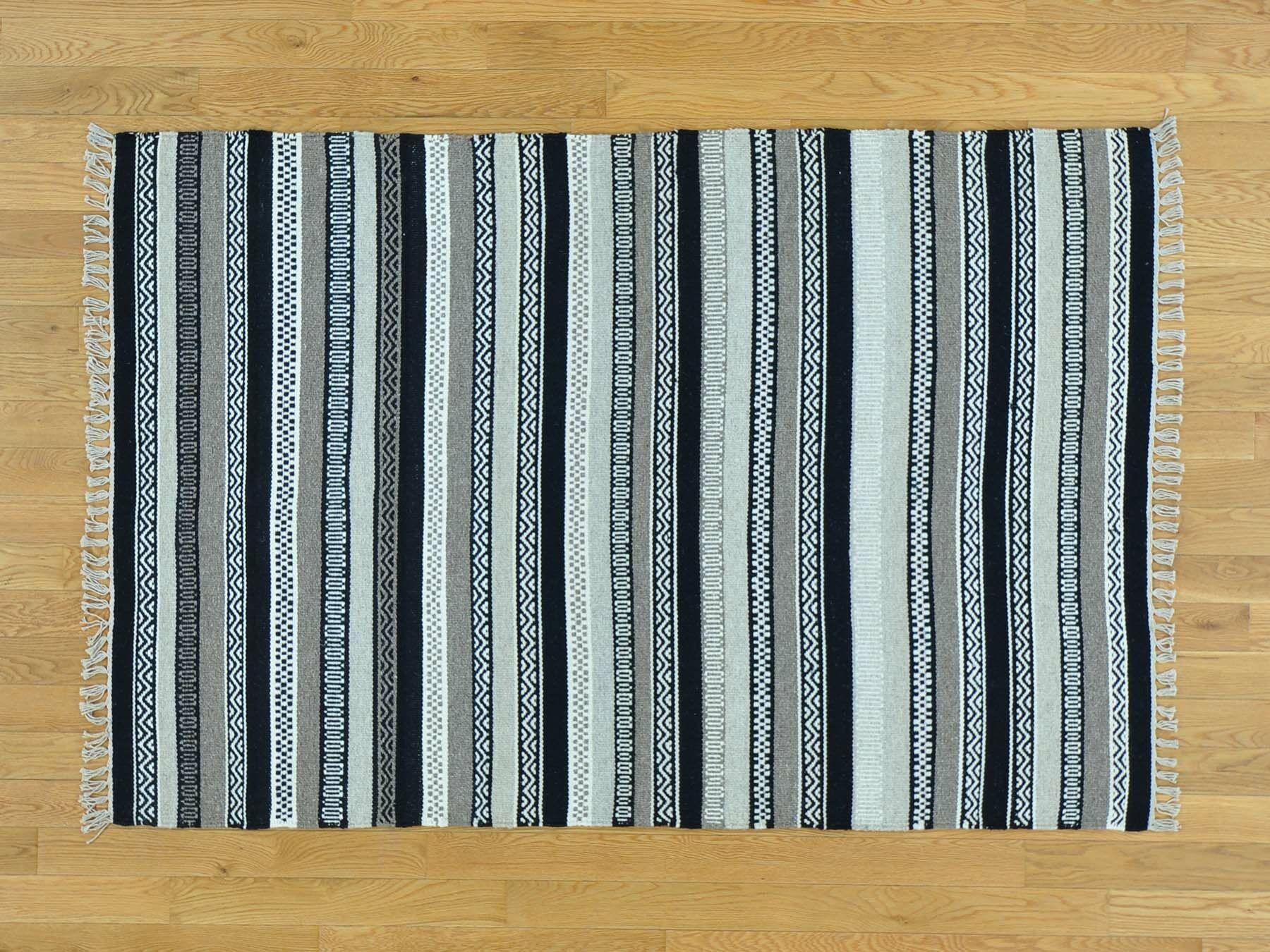 One-of-a-Kind Bessey Striped Handmade Kilim Wool Area Rug