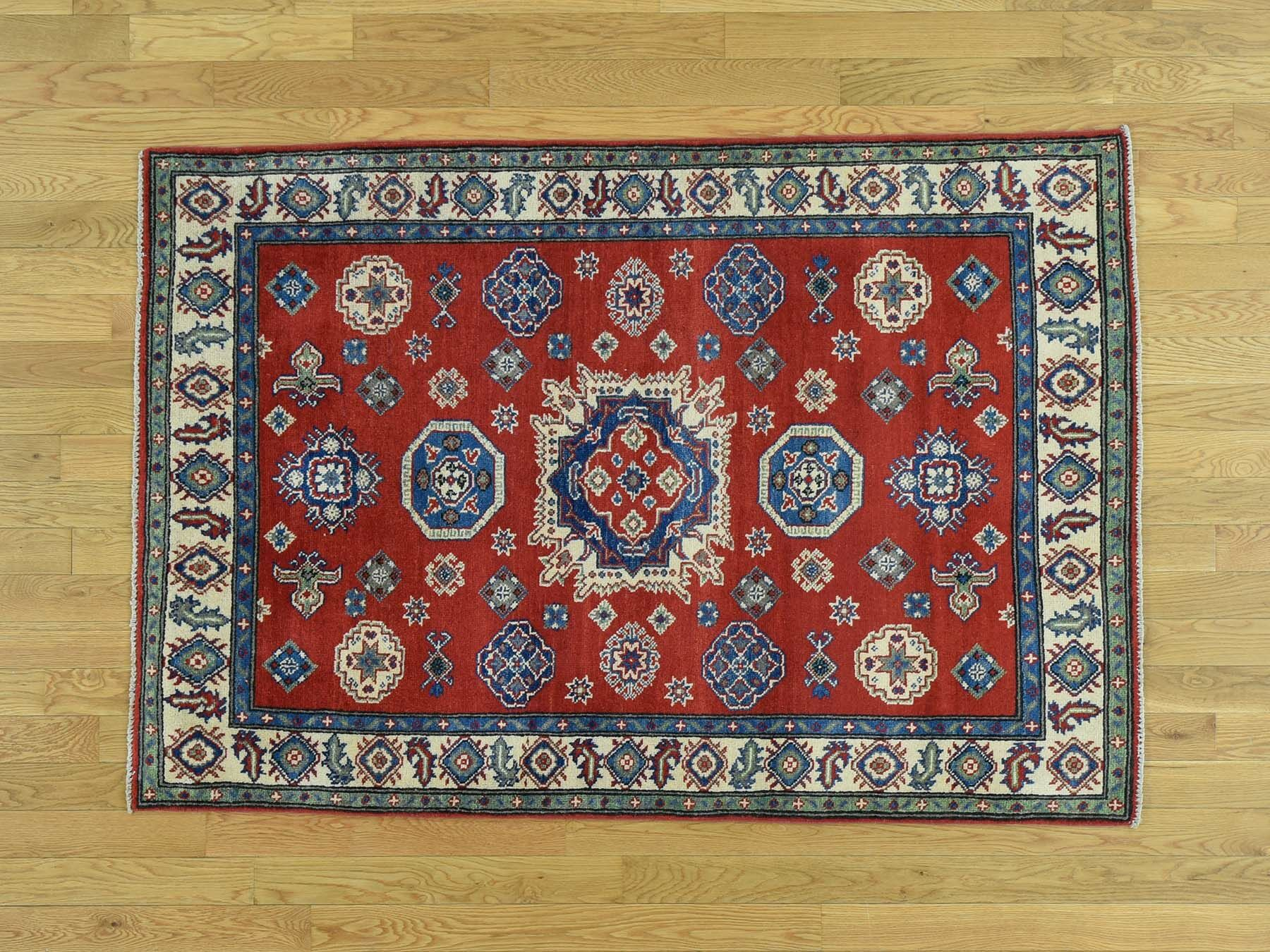 One-of-a-Kind Boughner Kazak Geometric Design Hand-Knotted Red Wool Area Rug