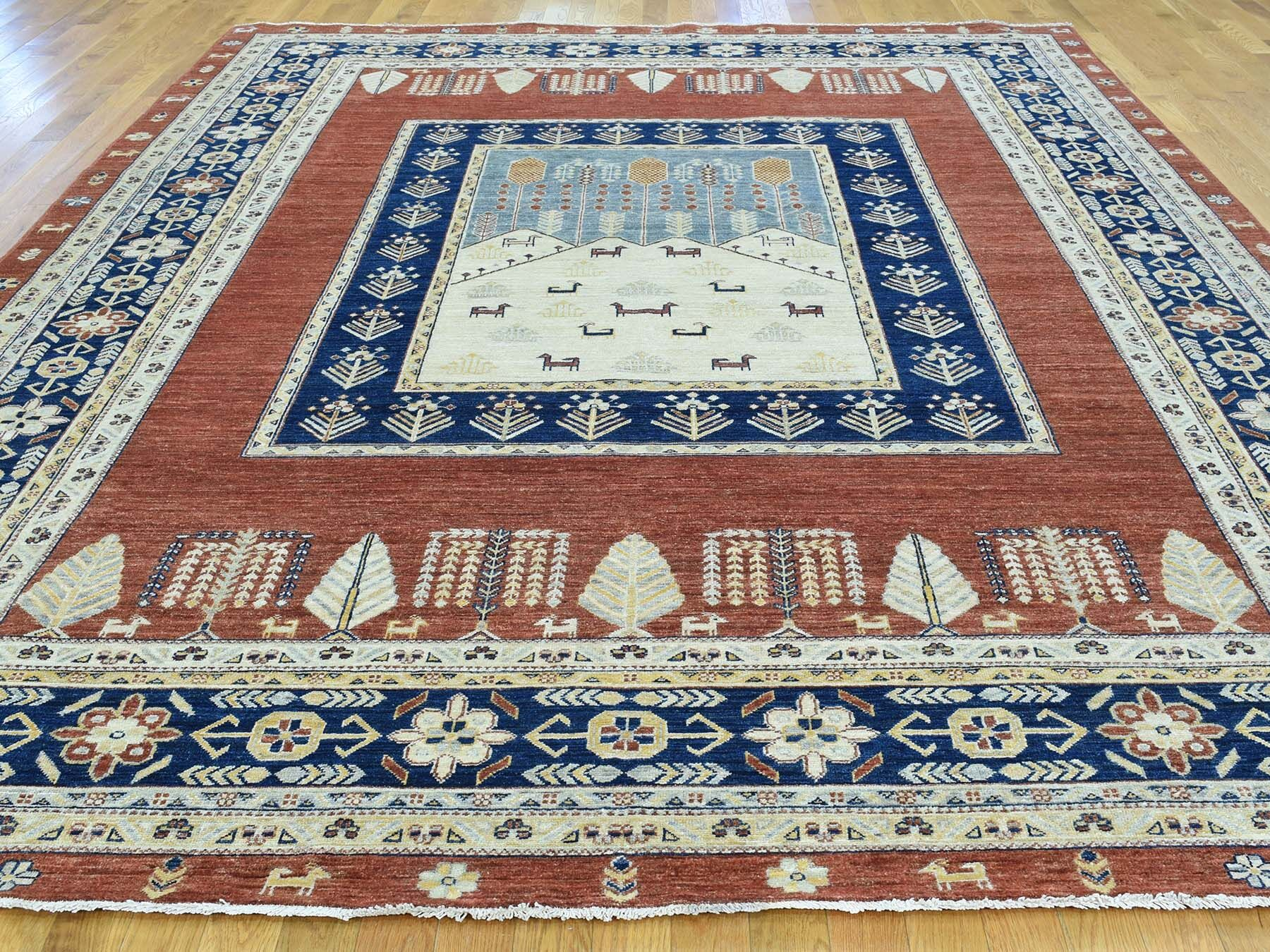 One-of-a-Kind Beaumont Pictorial Tree Design Hand-Knotted Brown Wool Area Rug