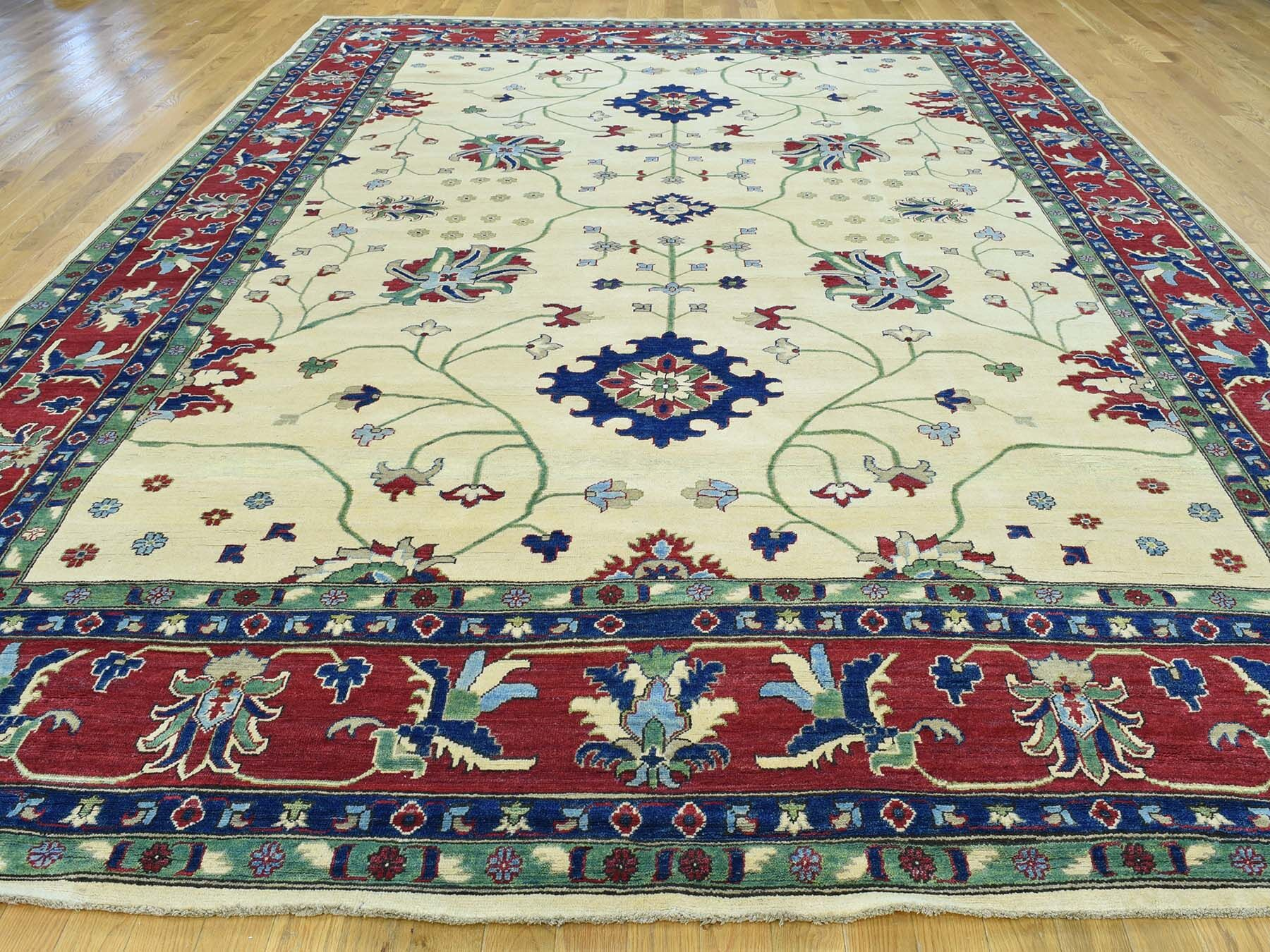 One-of-a-Kind Bechtold Geometric Design Handwoven Beige Wool Area Rug