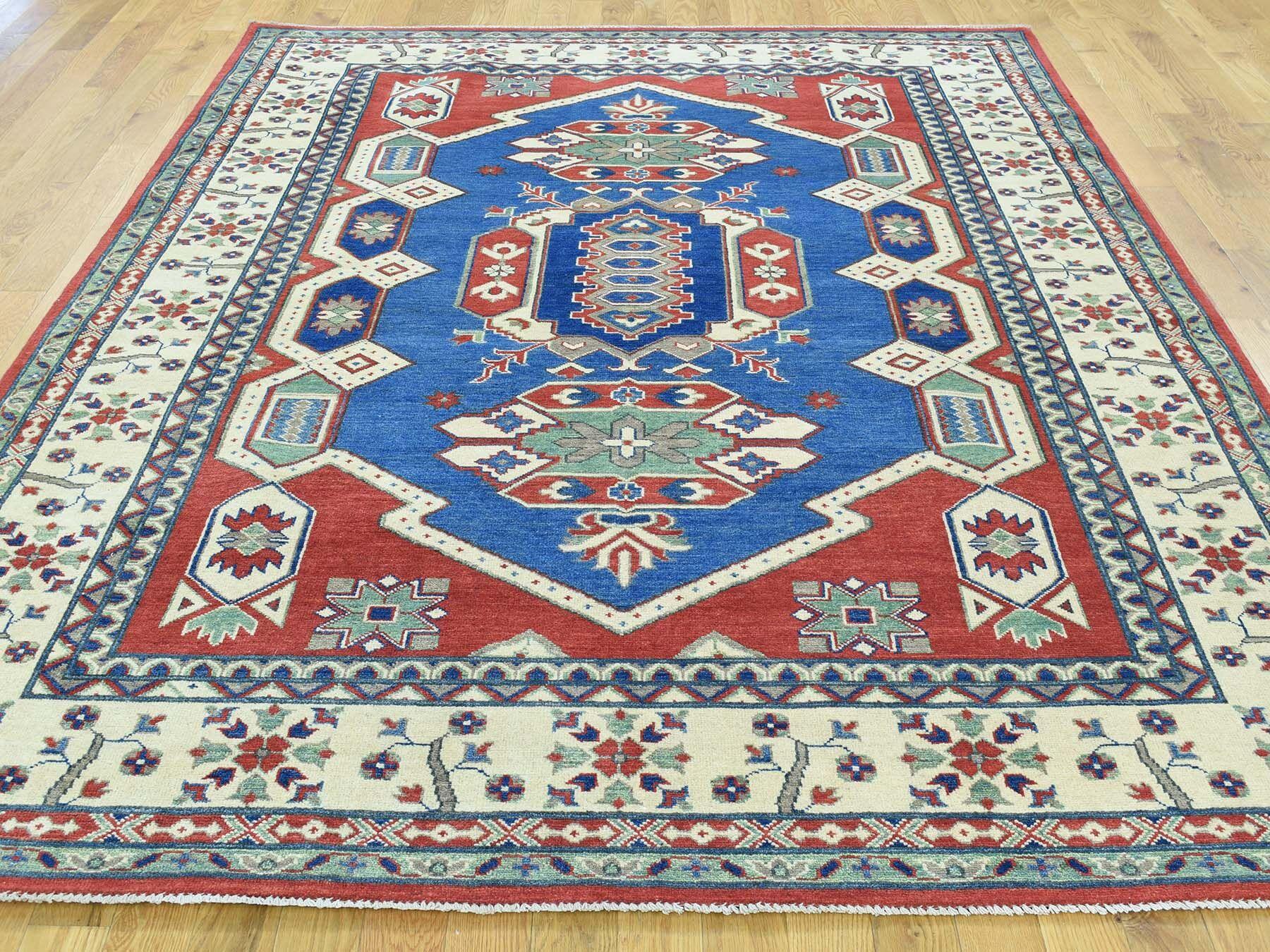One-of-a-Kind Bernhard Kazak Tribal Geometric Design Handwoven Blue Wool Area Rug