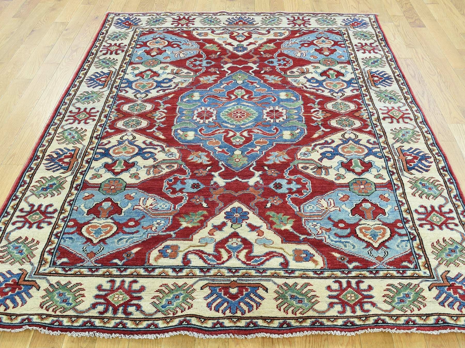 One-of-a-Kind Berryhill Kazak Geometric Design Handwoven Red Wool Area Rug