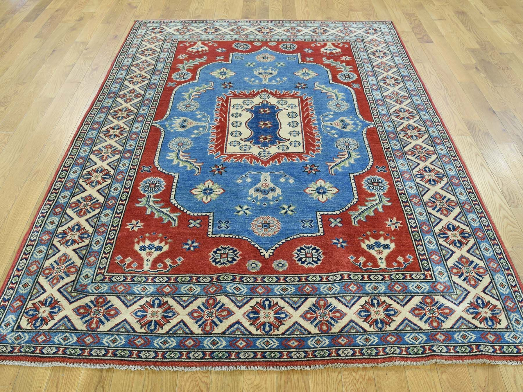 One-of-a-Kind Berrier Kazak Tribal Design Handwoven Blue Wool Area Rug