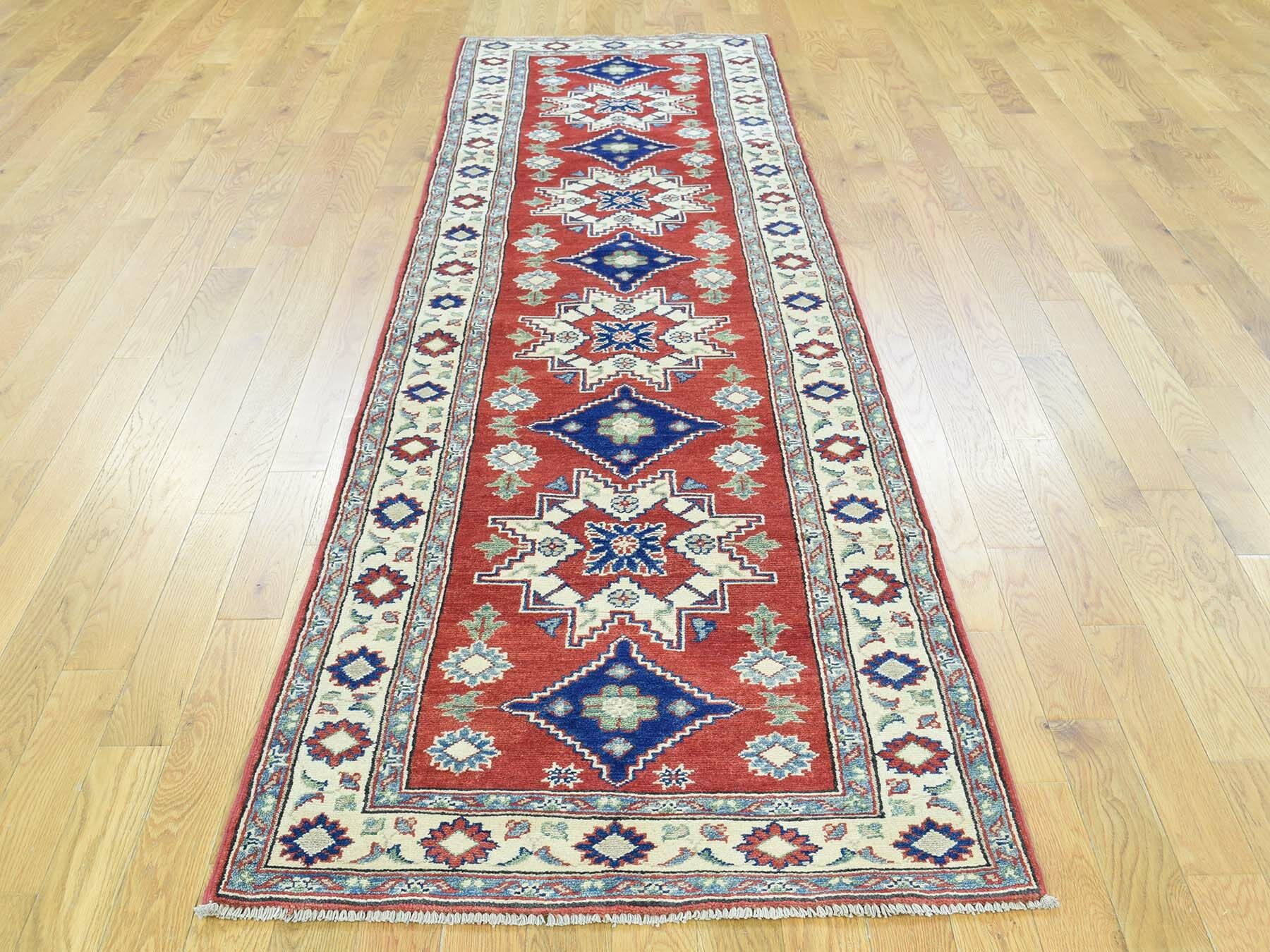 One-of-a-Kind Bersum Kazak Tribal Design Handwoven Red Wool Area Rug