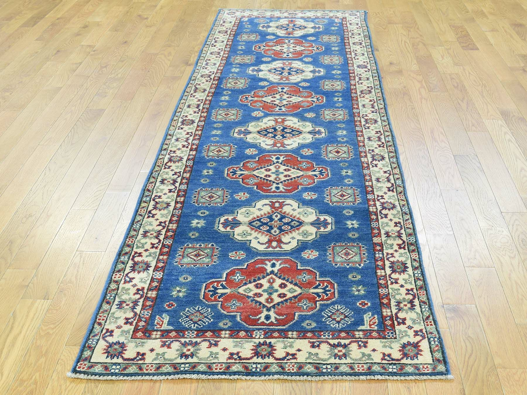 One-of-a-Kind Bertha Kazak Tribal Design Handwoven Blue Wool Area Rug