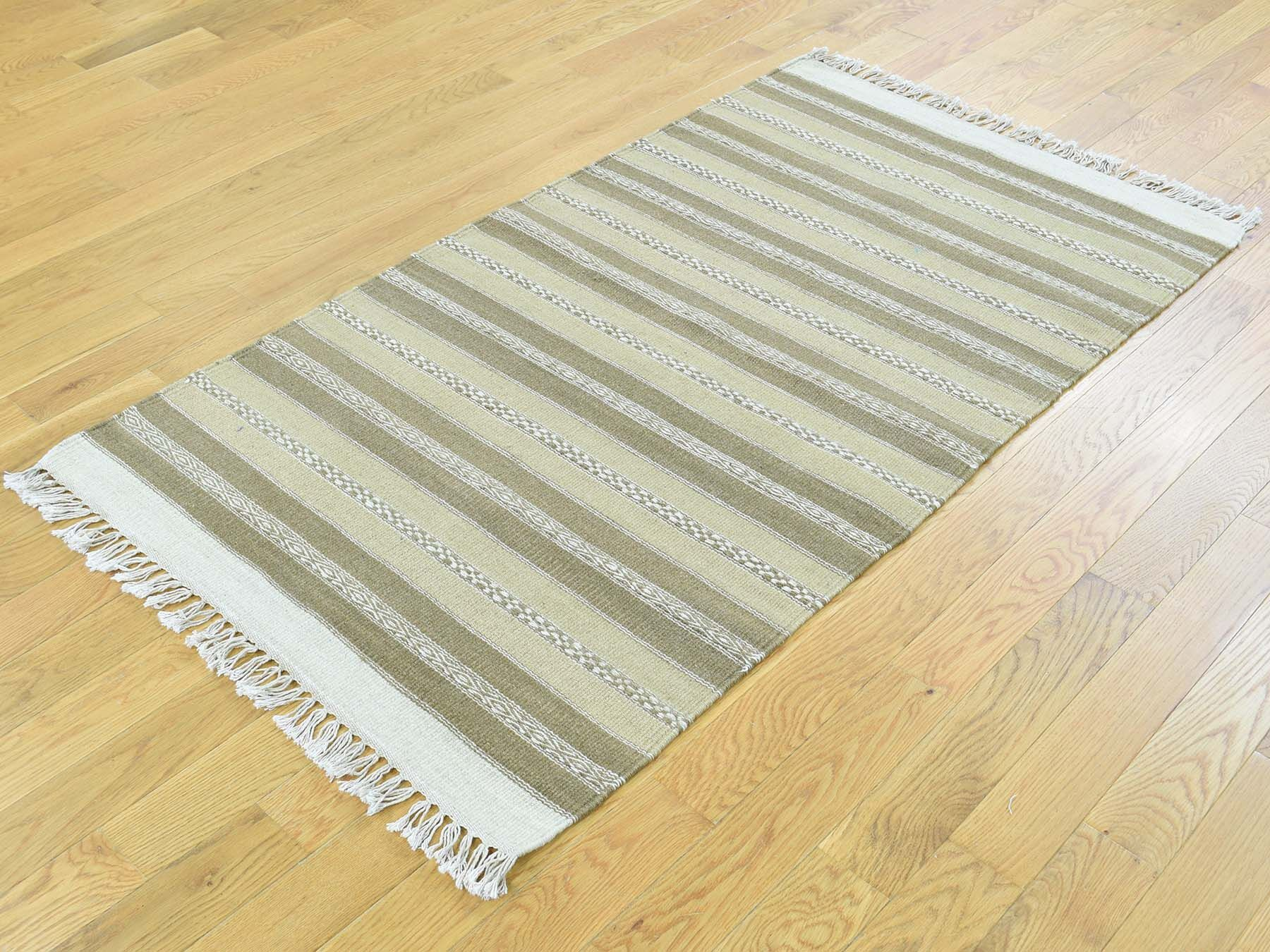 One-of-a-Kind Bessey Striped Handmade Kilim Wool Area Rug
