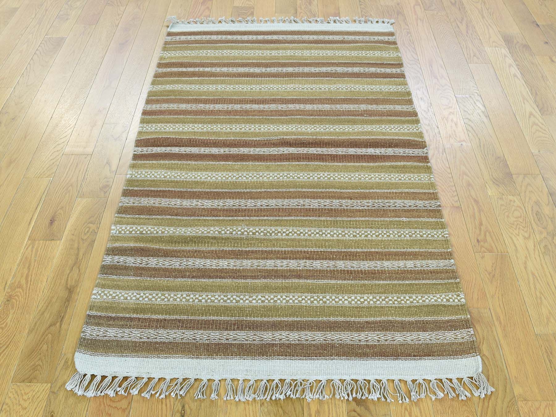 One-of-a-Kind Bedell Reversible Striped Handmade Kilim Wool Area Rug