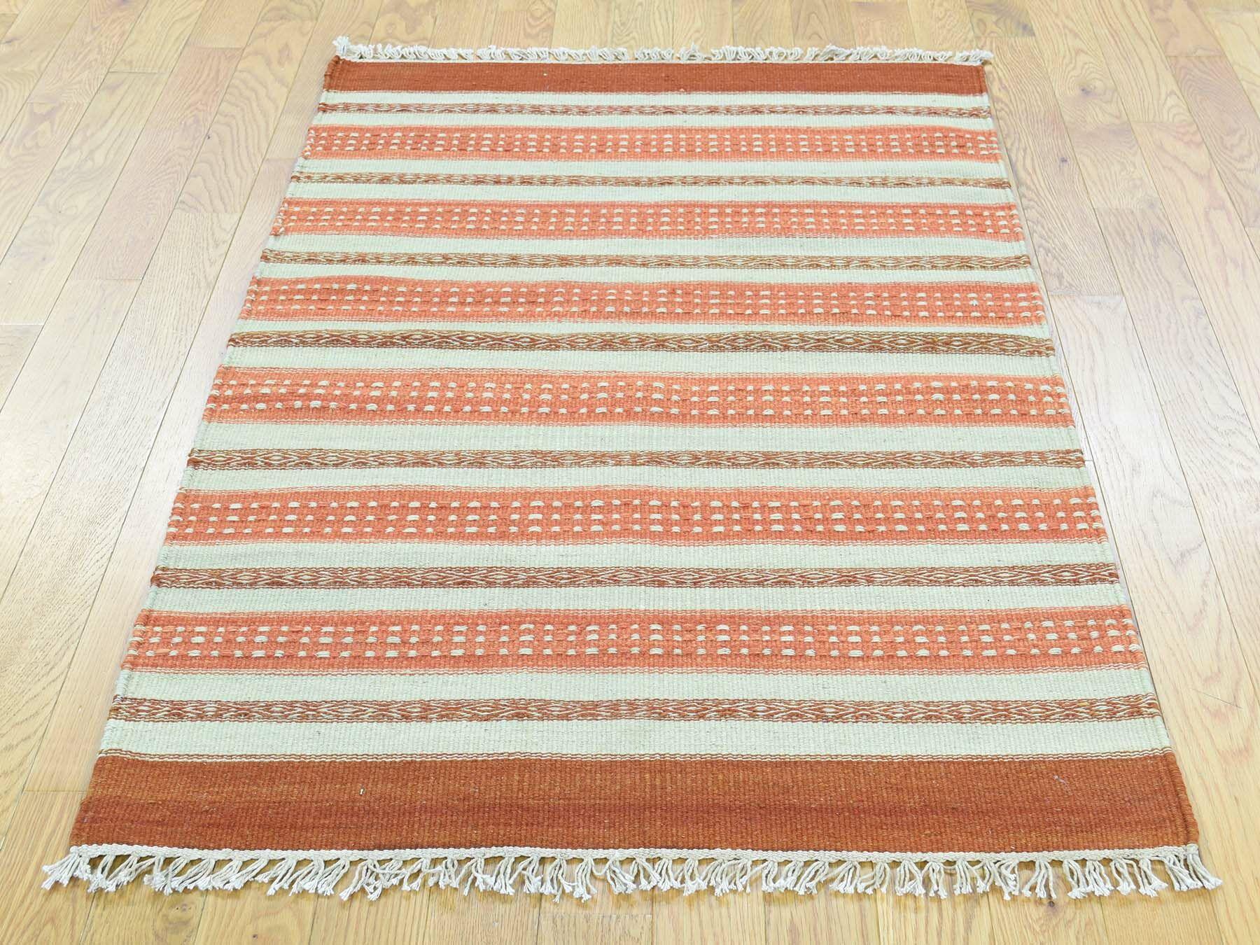 One-of-a-Kind Bedford Striped Reversible Handmade Kilim Wool Area Rug