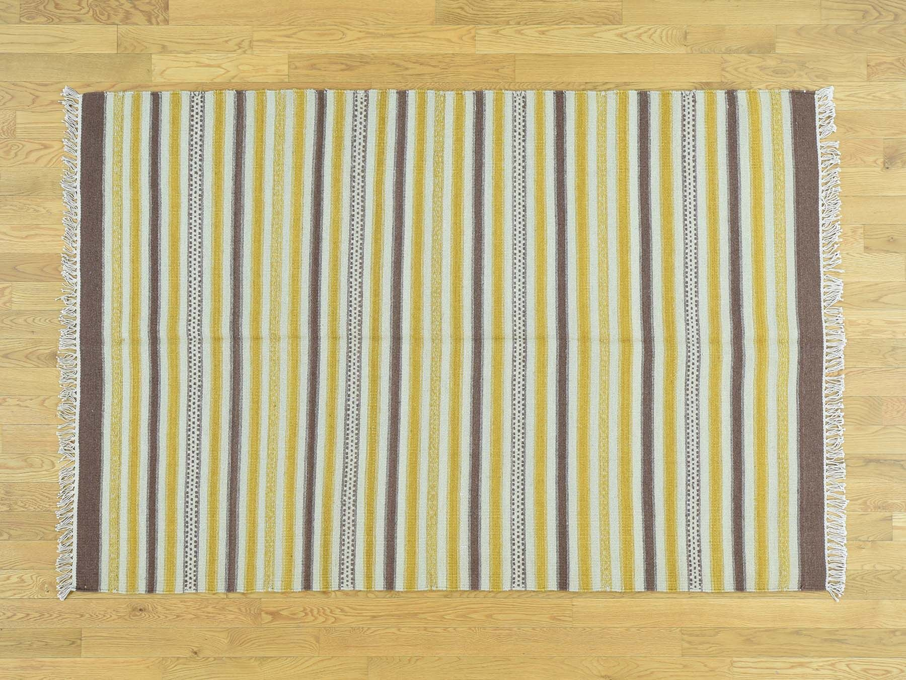 One-of-a-Kind Bertram Striped Handmade Kilim Brown/Purple Wool Area Rug