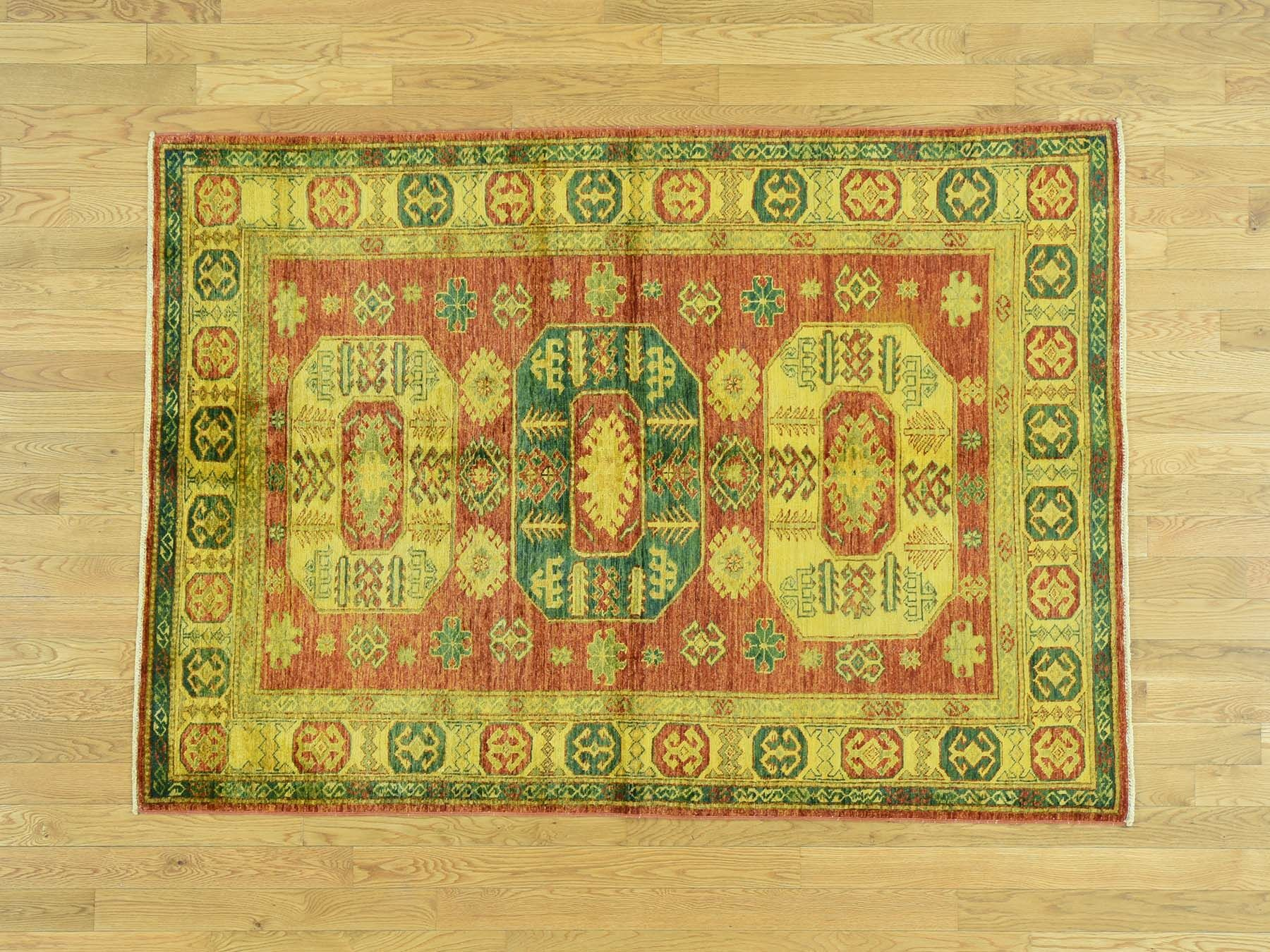 One-of-a-Kind Bechtold Overdyed Handwoven Yellow Wool Area Rug