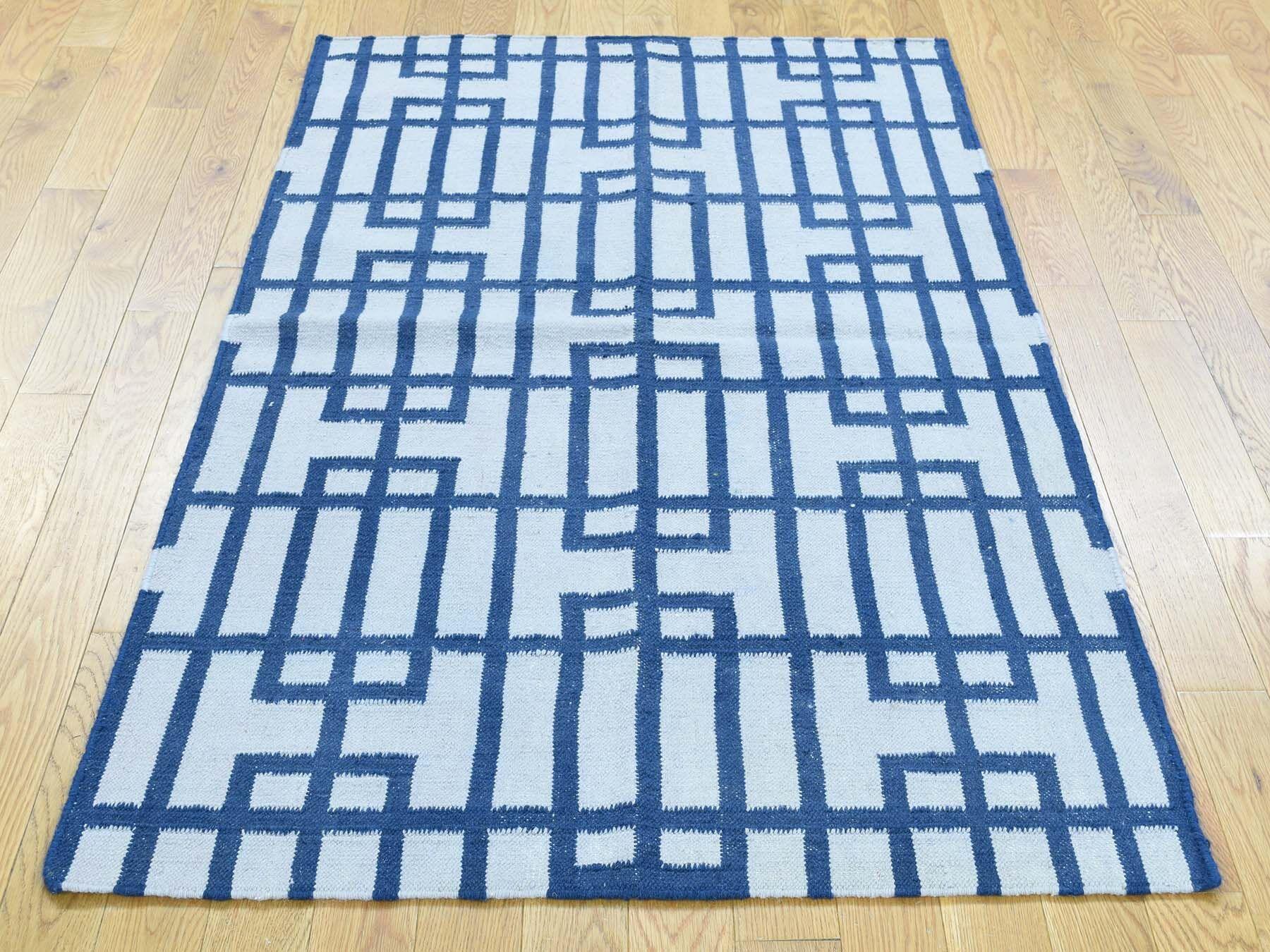 One-of-a-Kind Bravo Geometric Design Reversible Handmade Kilim Ivory Wool Area Rug