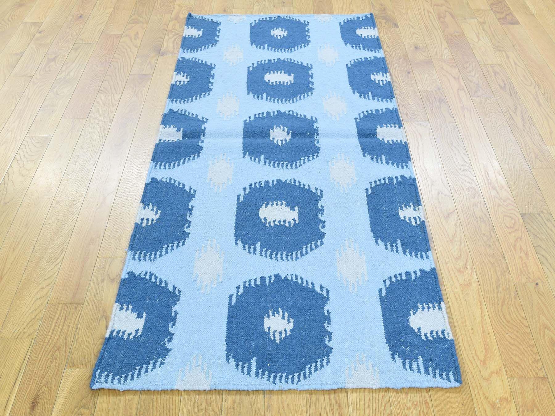 One-of-a-Kind Brawner Geometric Design Reversible Handmade Kilim Blue Wool Area Rug