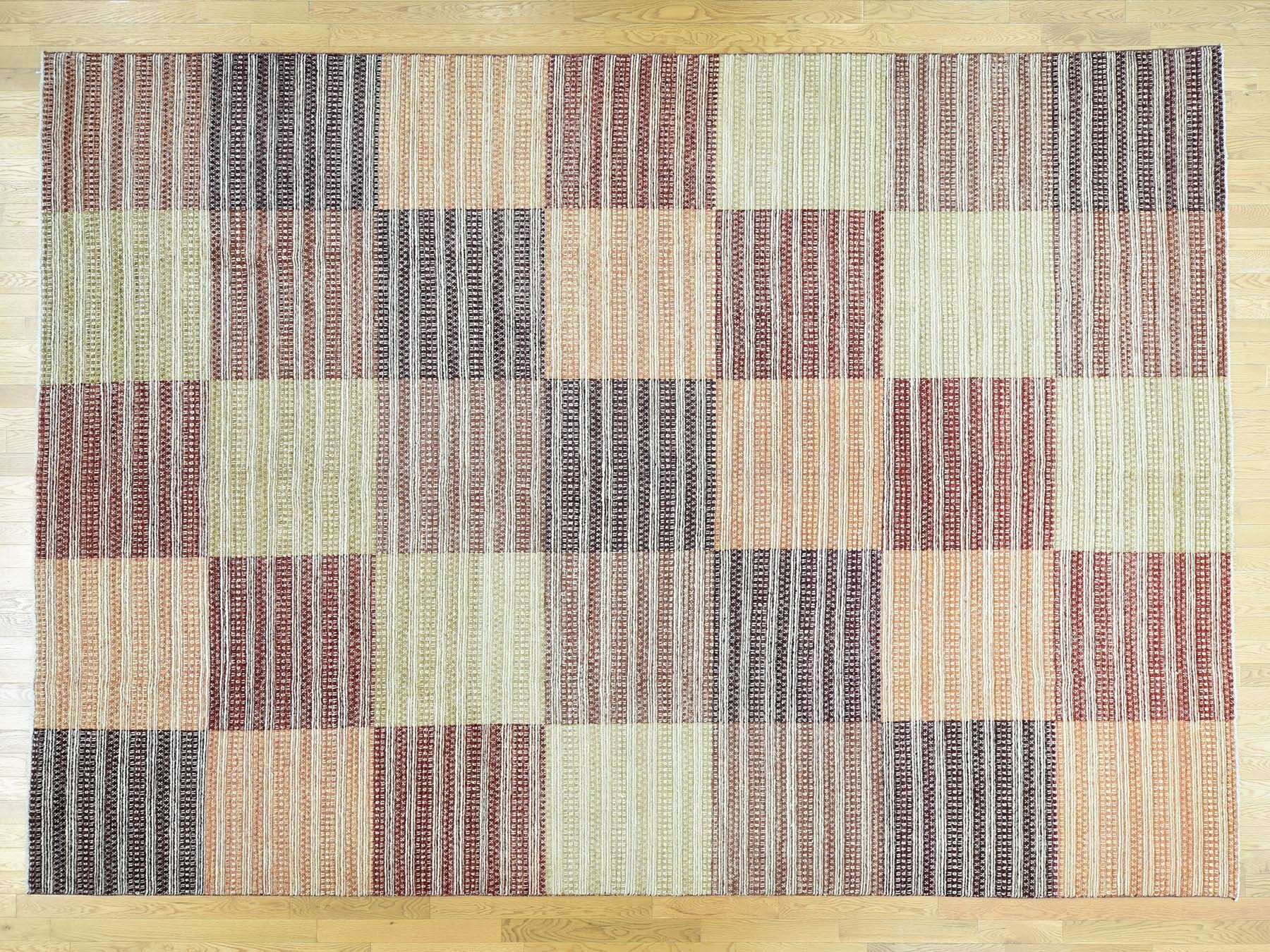 One-of-a-Kind Becker Block Design Handwoven Wool Area Rug
