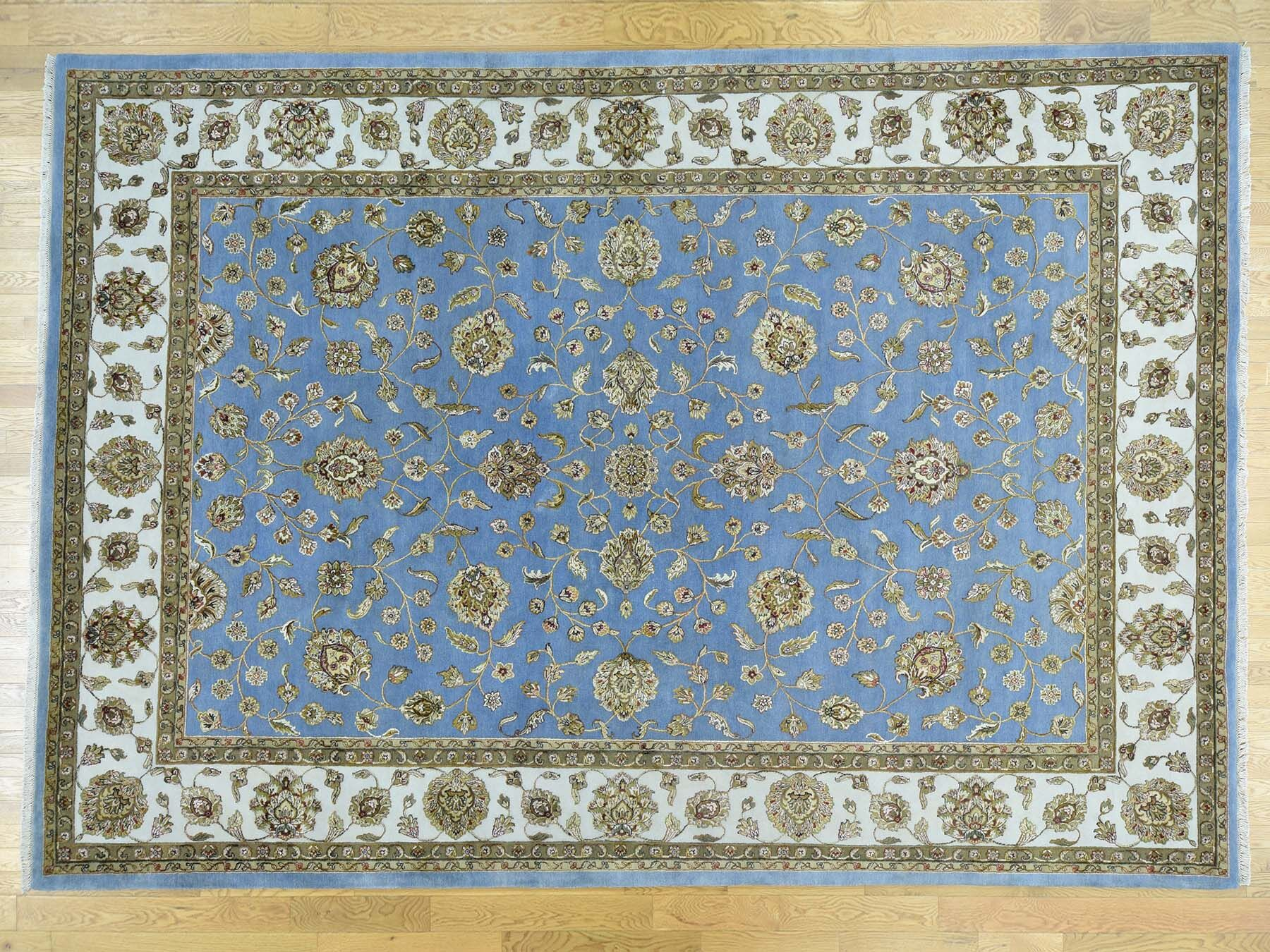 One-of-a-Kind Bear Handwoven Blue Wool Area Rug