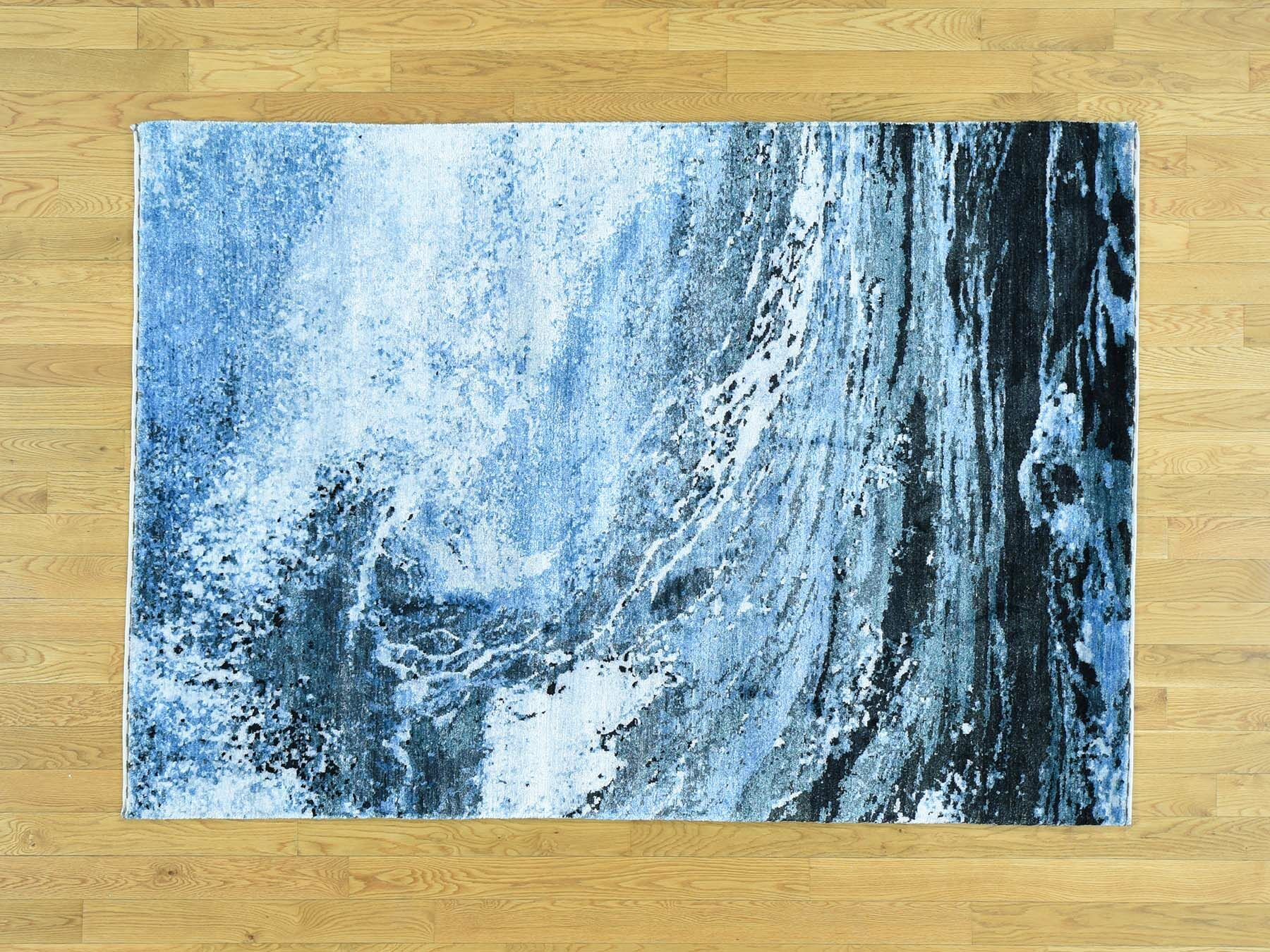 One-of-a-Kind Bovee Surf Ocean Abstract Design Handwoven Silk Area Rug