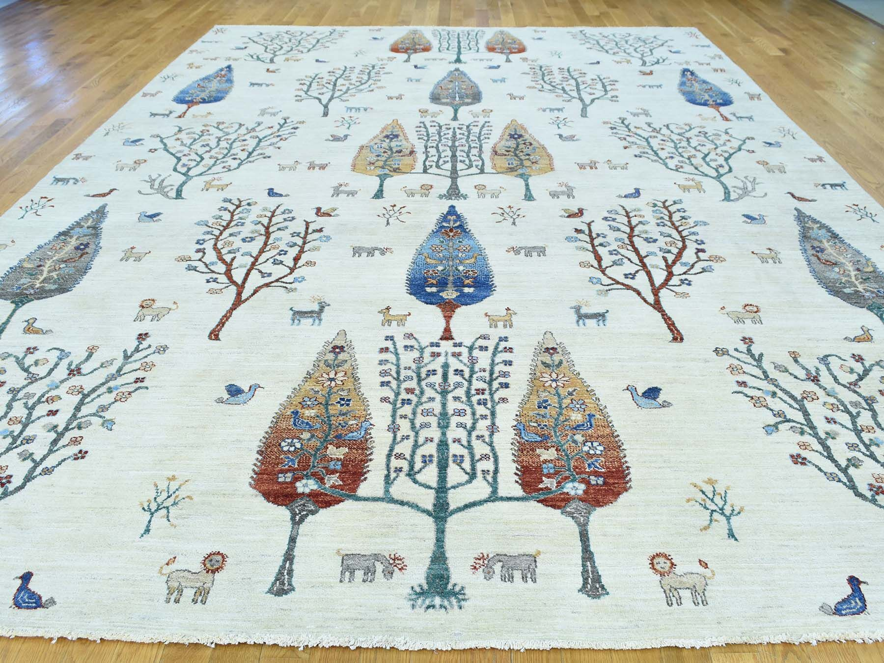 One-of-a-Kind Beaumont Antiqued Cypress Tree Design Handwoven Ivory Wool Area Rug