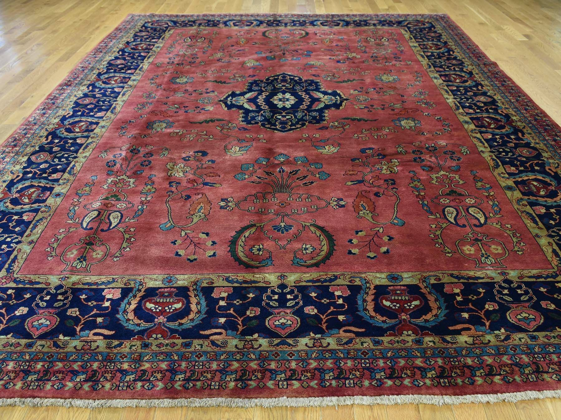 One-of-a-Kind Bodrum Sarouk Fereghan Revival New Zealand Handwoven Red Wool Area Rug