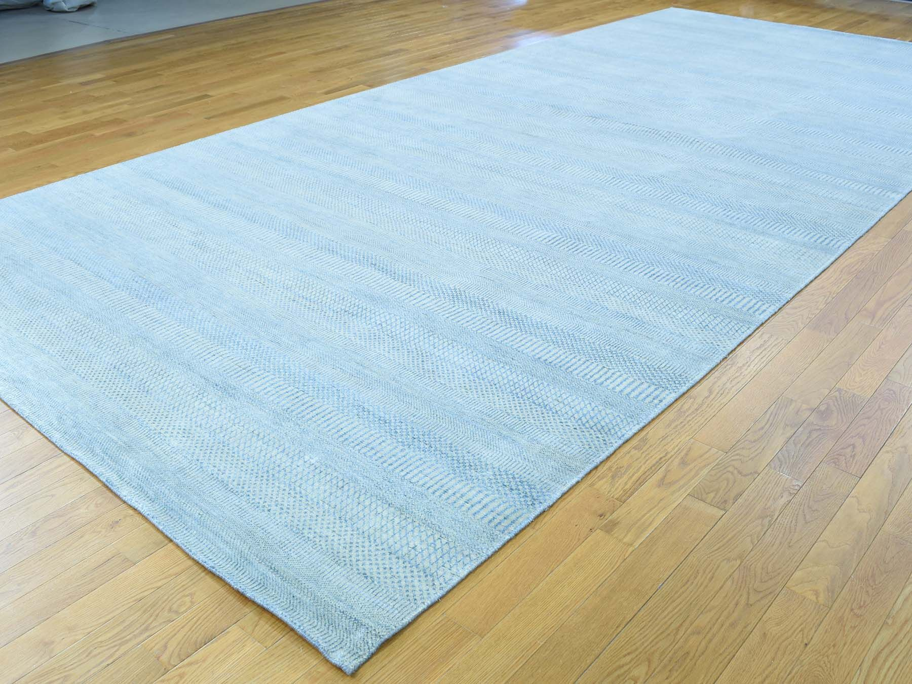 One-of-a-Kind Betances Grass Design Handwoven Blue Wool/Silk Area Rug