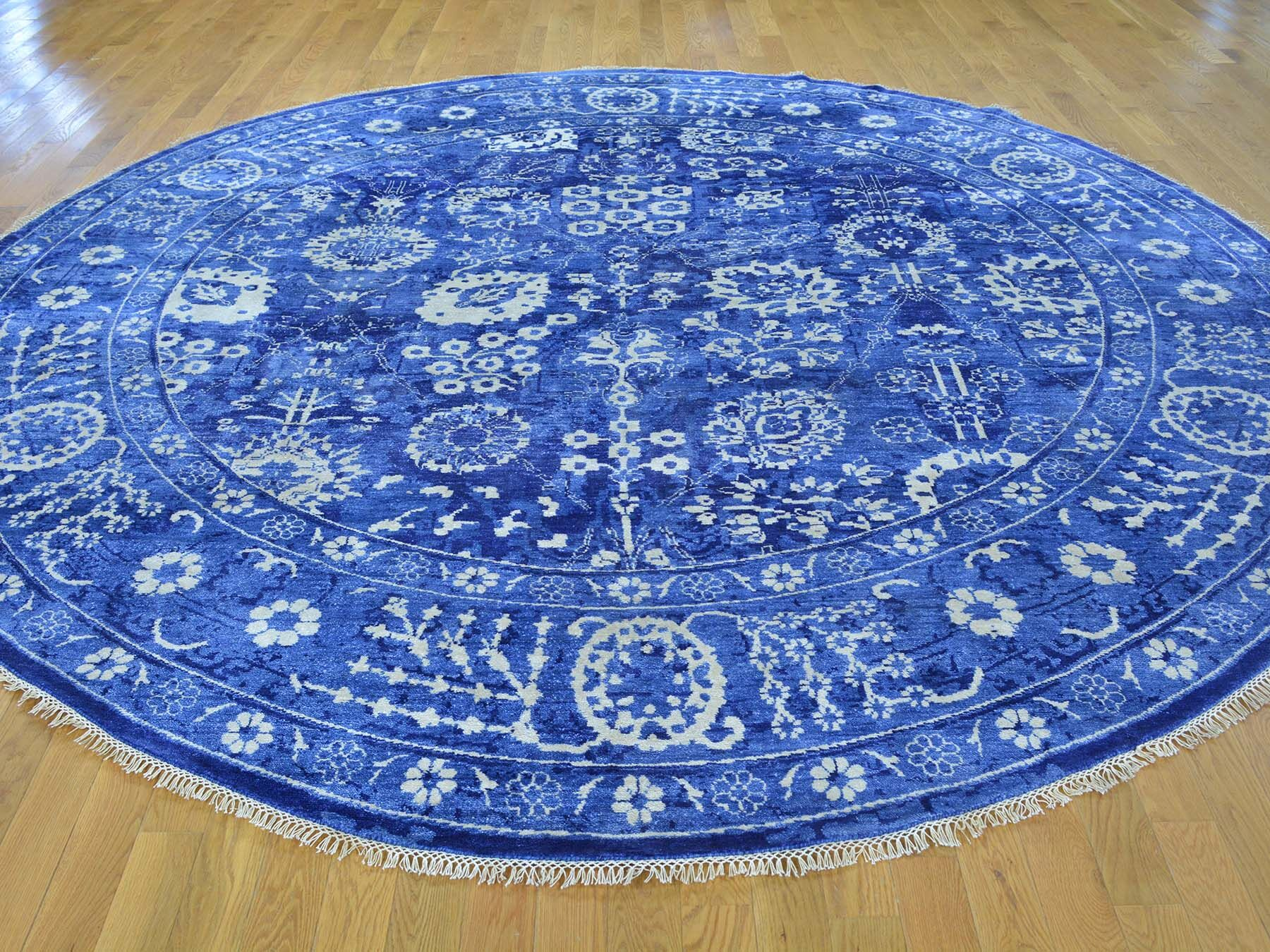 One-of-a-Kind Beason Handwoven Blue Wool/Silk Area Rug