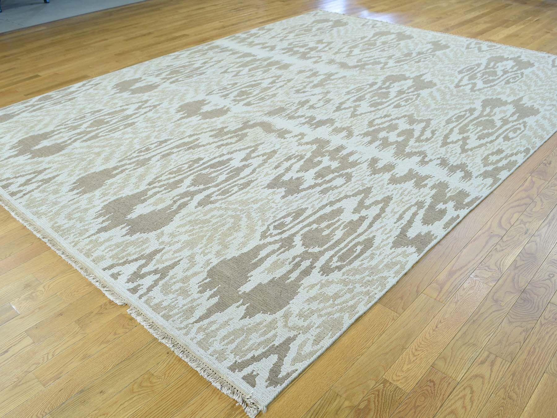 One-of-a-Kind Briele Ikat Design Soumak Handwoven Ivory Wool Area Rug