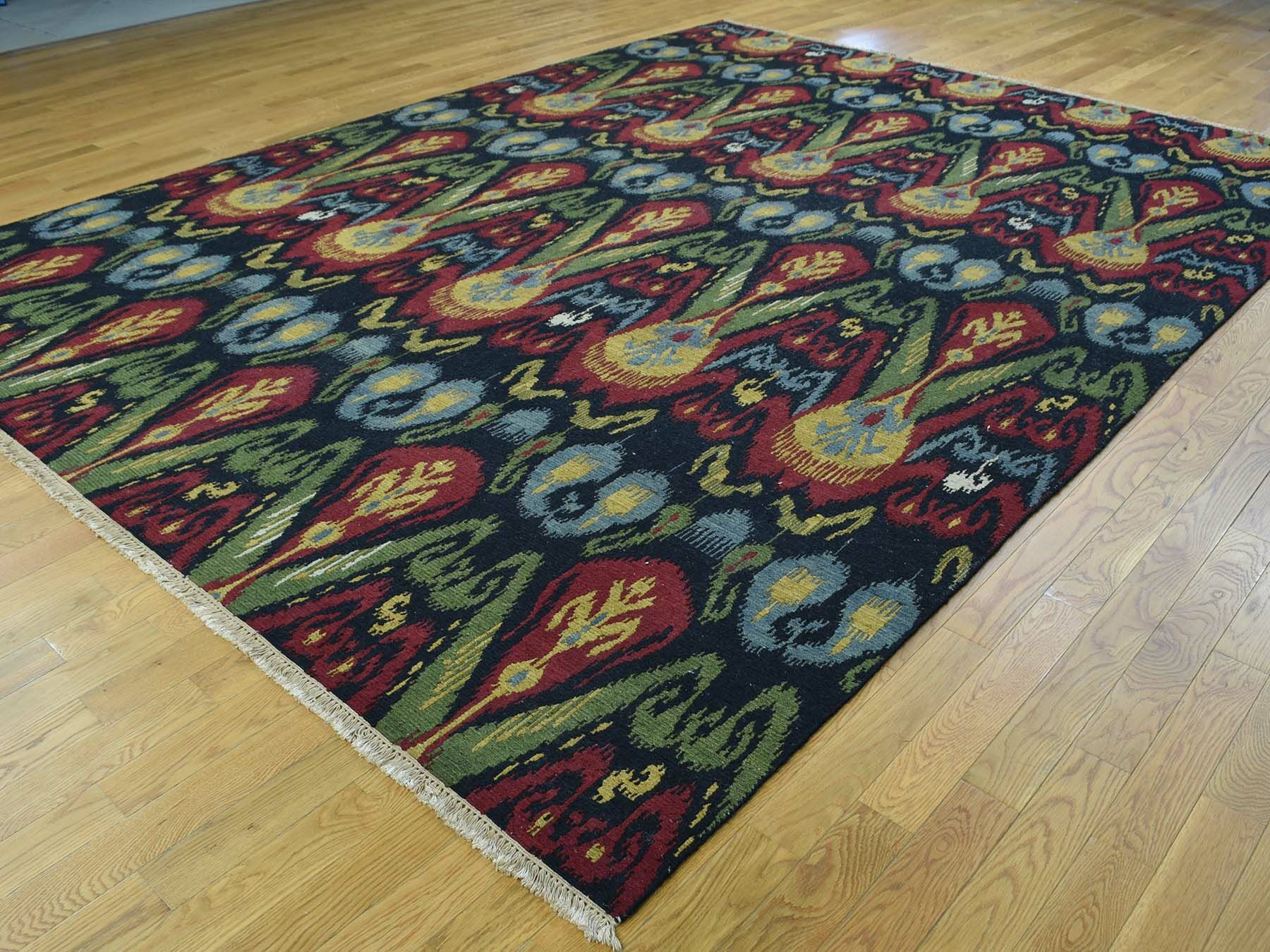 One-of-a-Kind Brieley Ikat Design Soumak Double Weft Handwoven Black Wool Area Rug