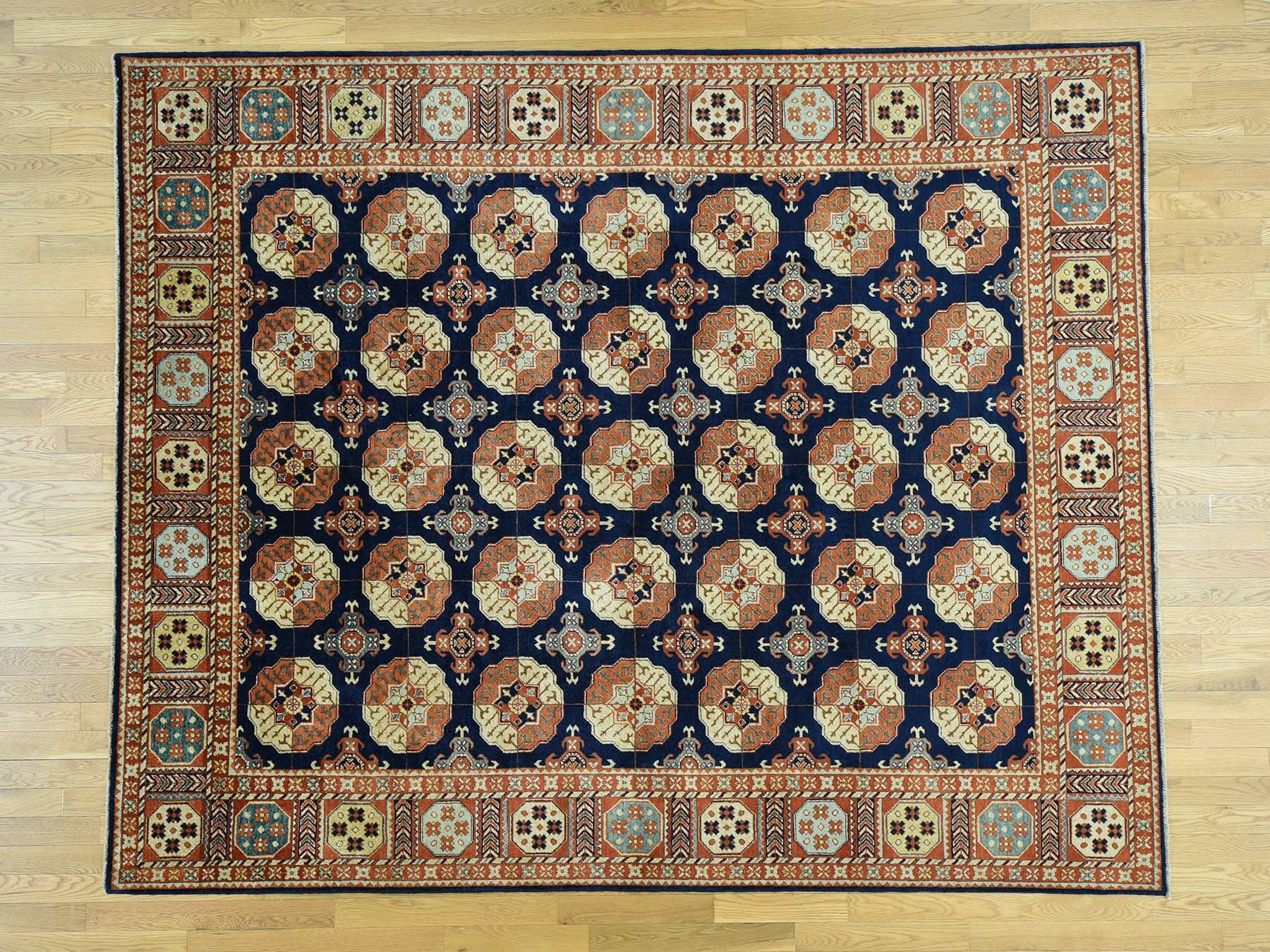 One-of-a-Kind Beatrix Turkoman Handwoven Blue Wool Area Rug