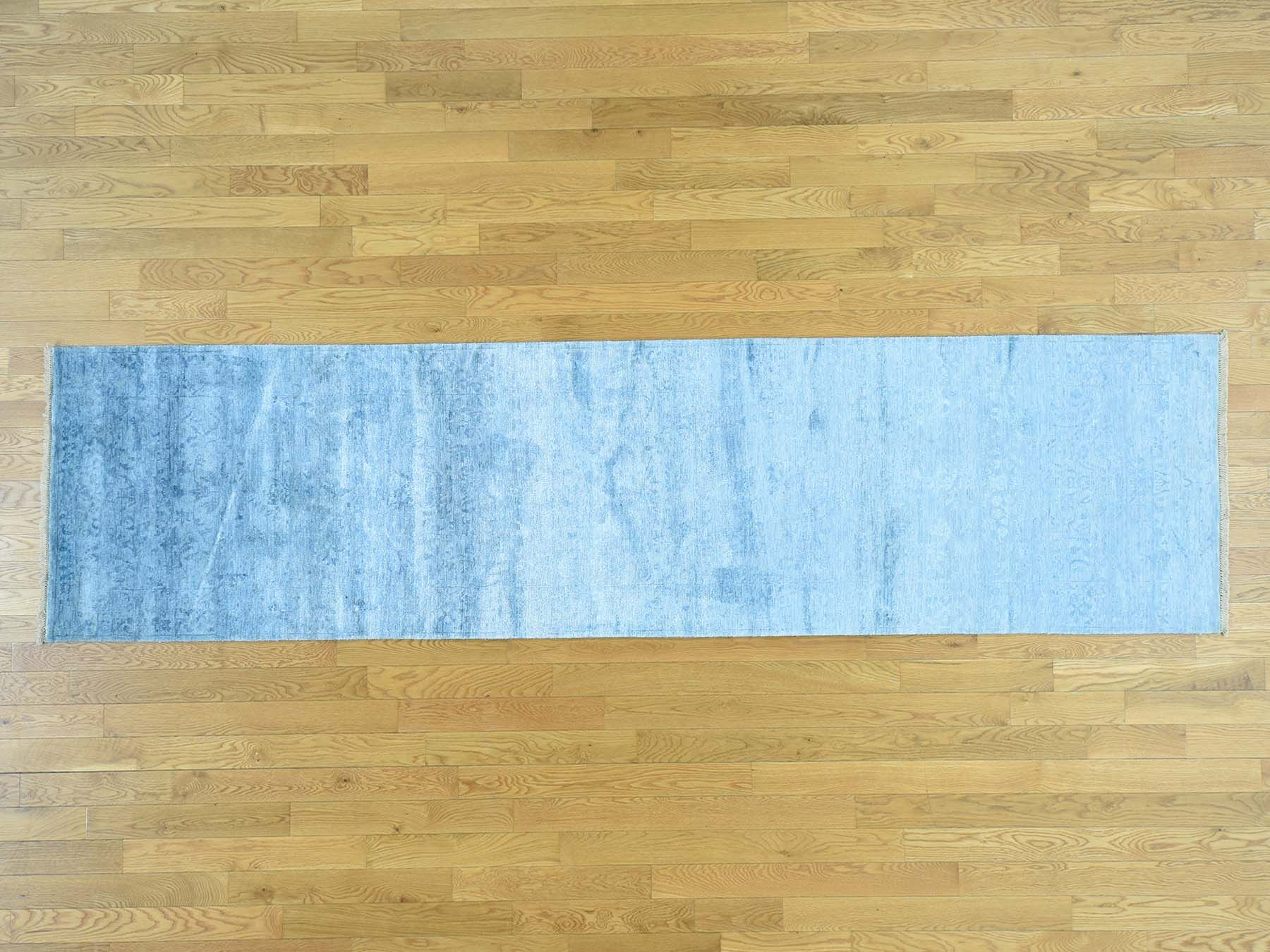 One-of-a-Kind Brazell Art Broken Design Handwoven Blue Silk Area Rug