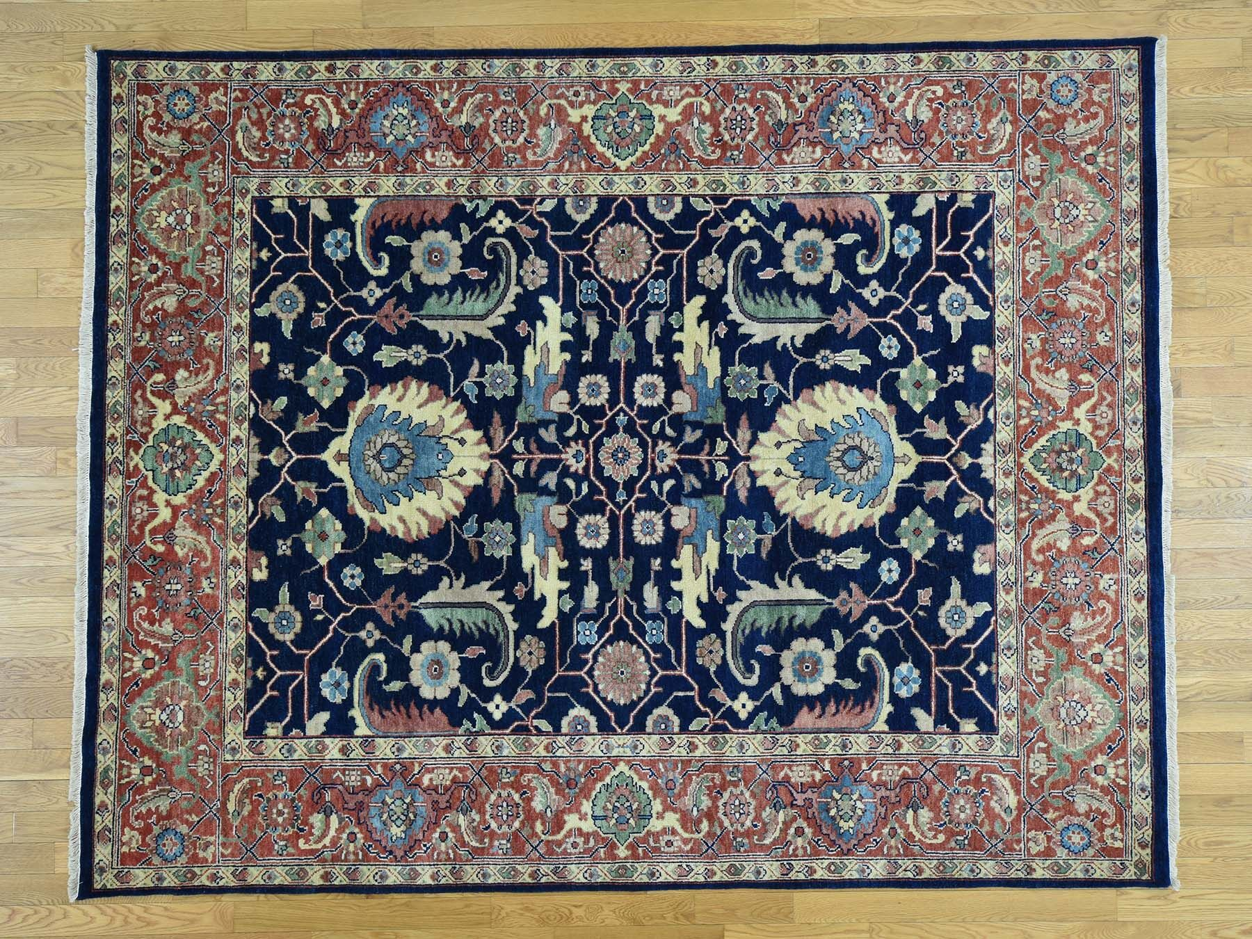 One-of-a-Kind Beare Handwoven Blue Wool Area Rug