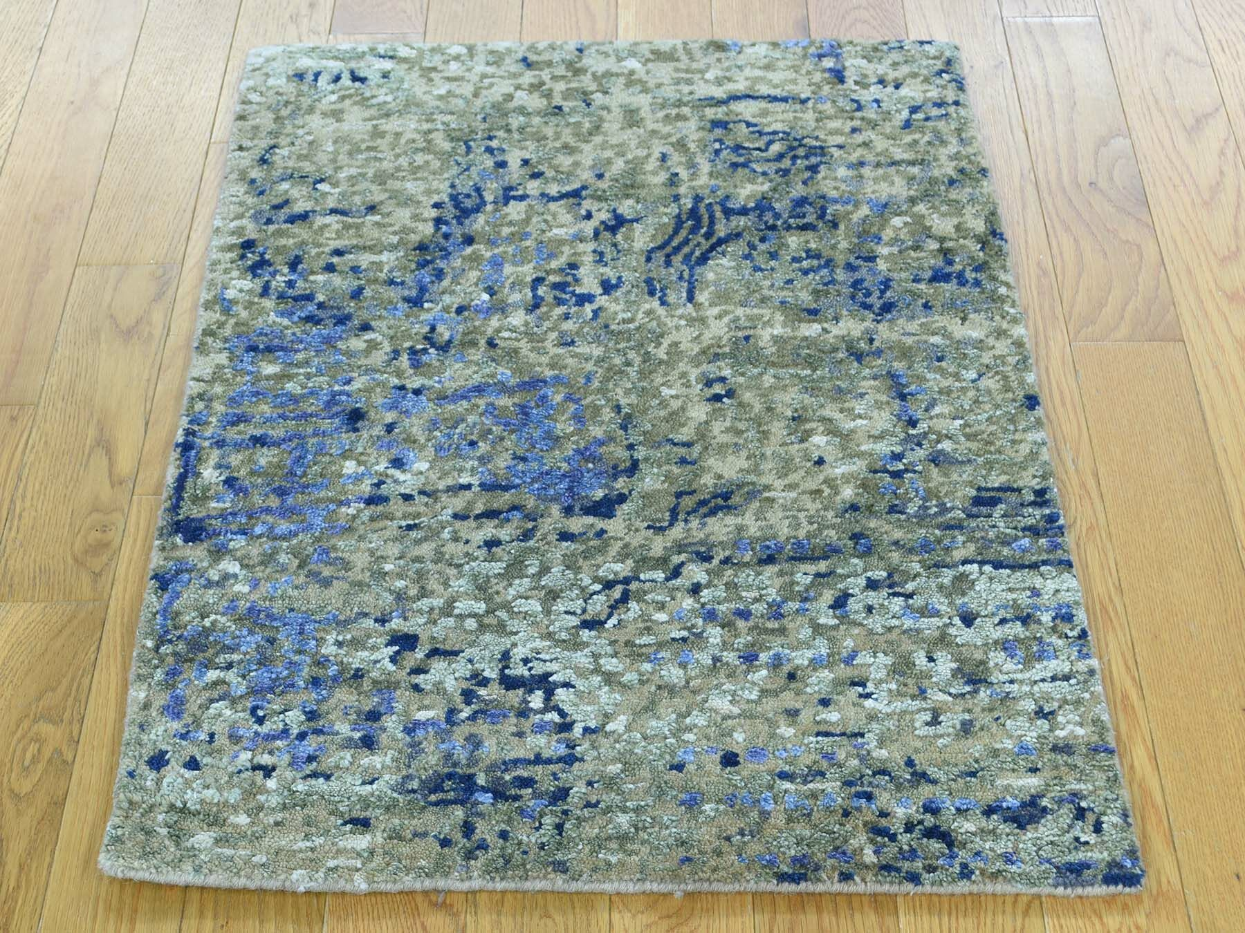 One-of-a-Kind Bowe Abstract Design Handwoven Wool/Silk Area Rug