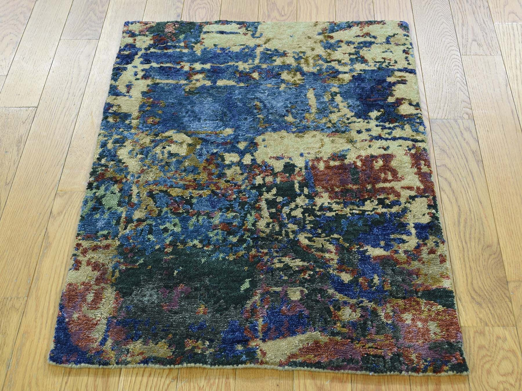 One-of-a-Kind Bowersville Abstract Design Handwoven Wool/Silk Area Rug