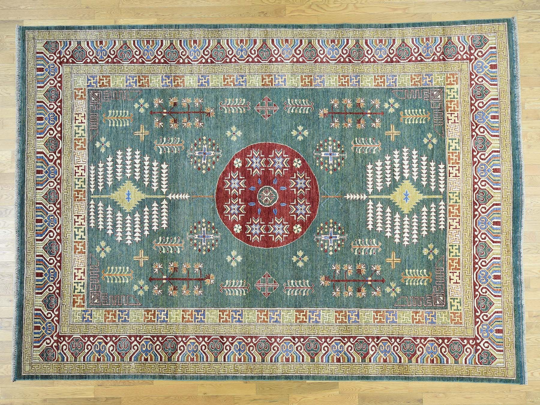 One-of-a-Kind Beauchemin Afghan Er With Design Hand-Knotted Green Wool Area Rug