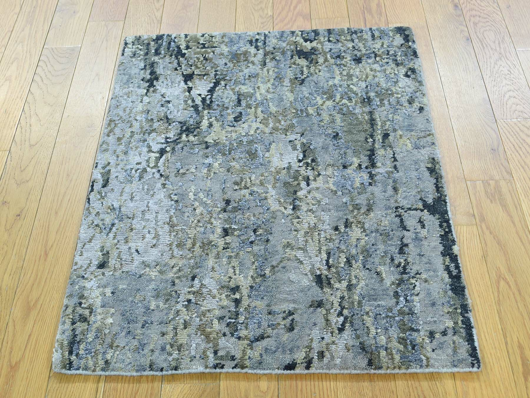 One-of-a-Kind Brigitte Abstract Design Handwoven Wool/Silk Area Rug