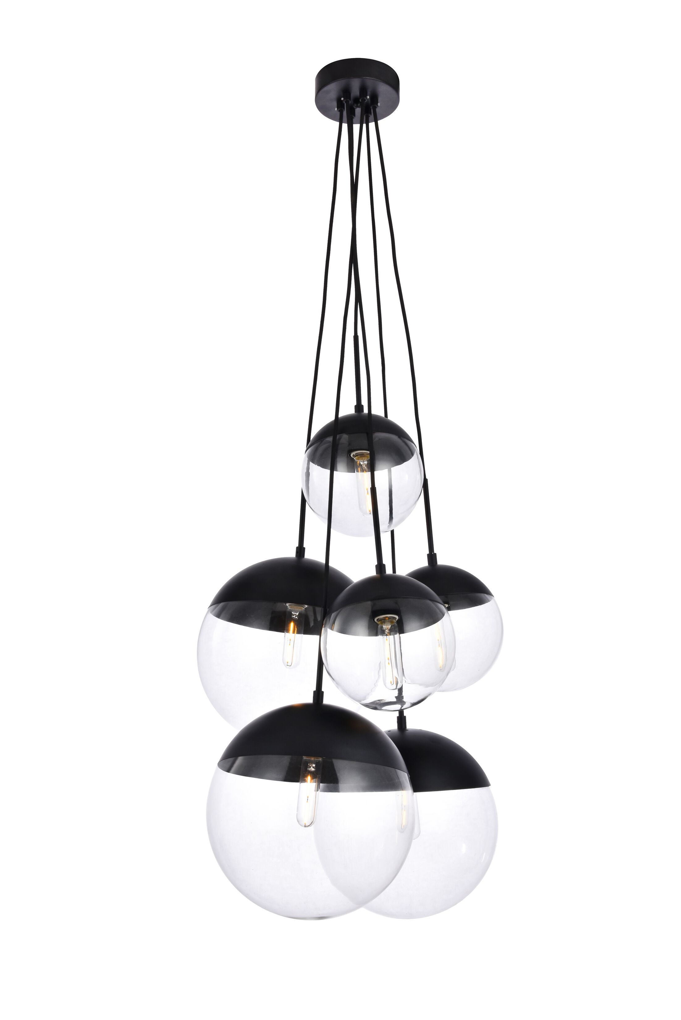Gilberto 6-Light Cluster Pendant Finish: Black, Shade Color/Pattern: Clear