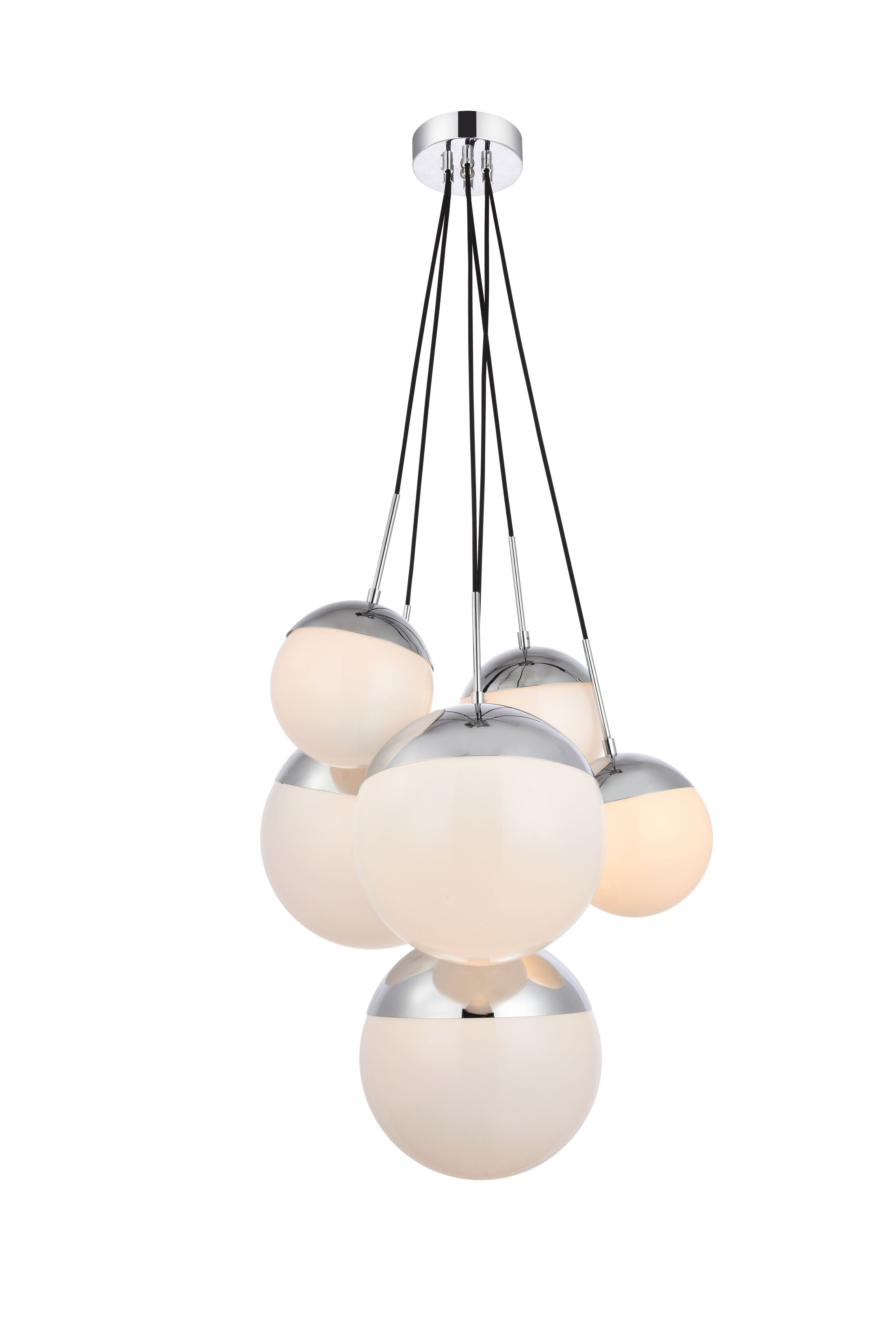Gilberto 6-Light Cluster Pendant Finish: Chrome, Shade Color/Pattern: Frosted White