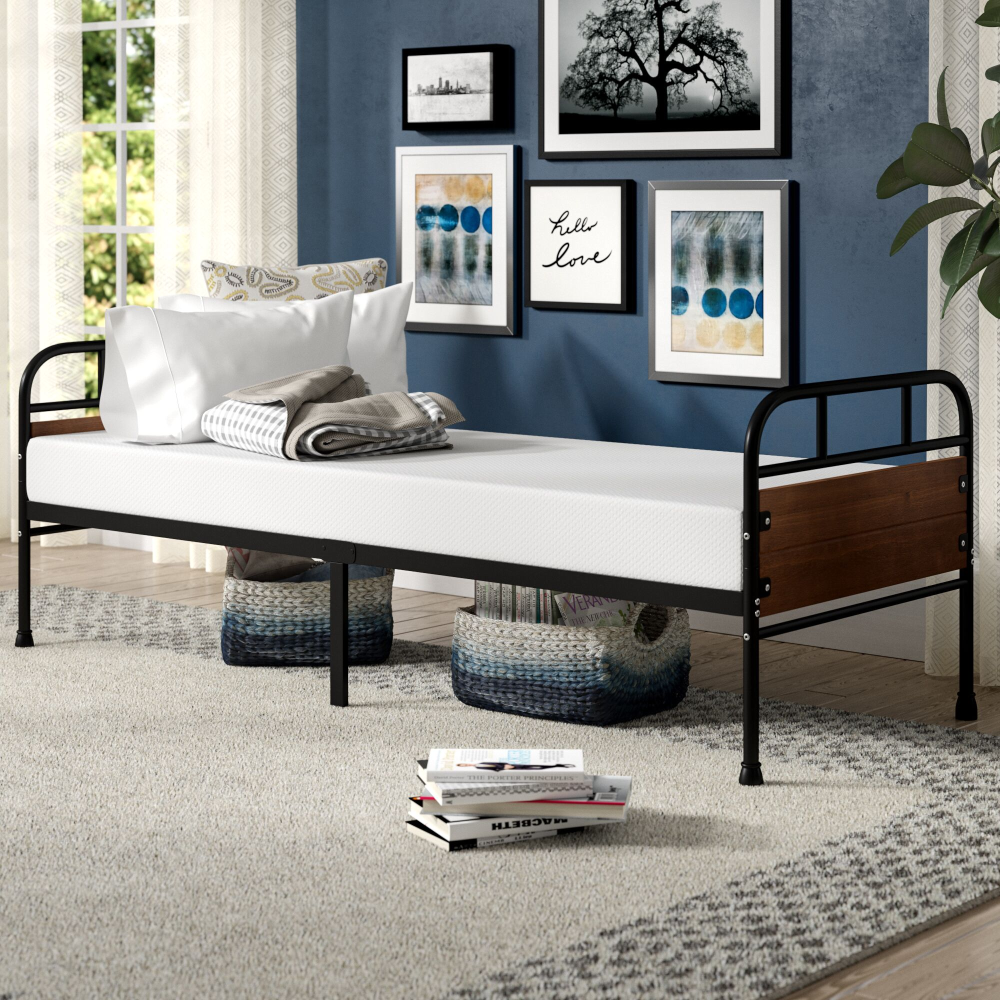 Townsel Narrow Frame Day Bed with Foam Mattress