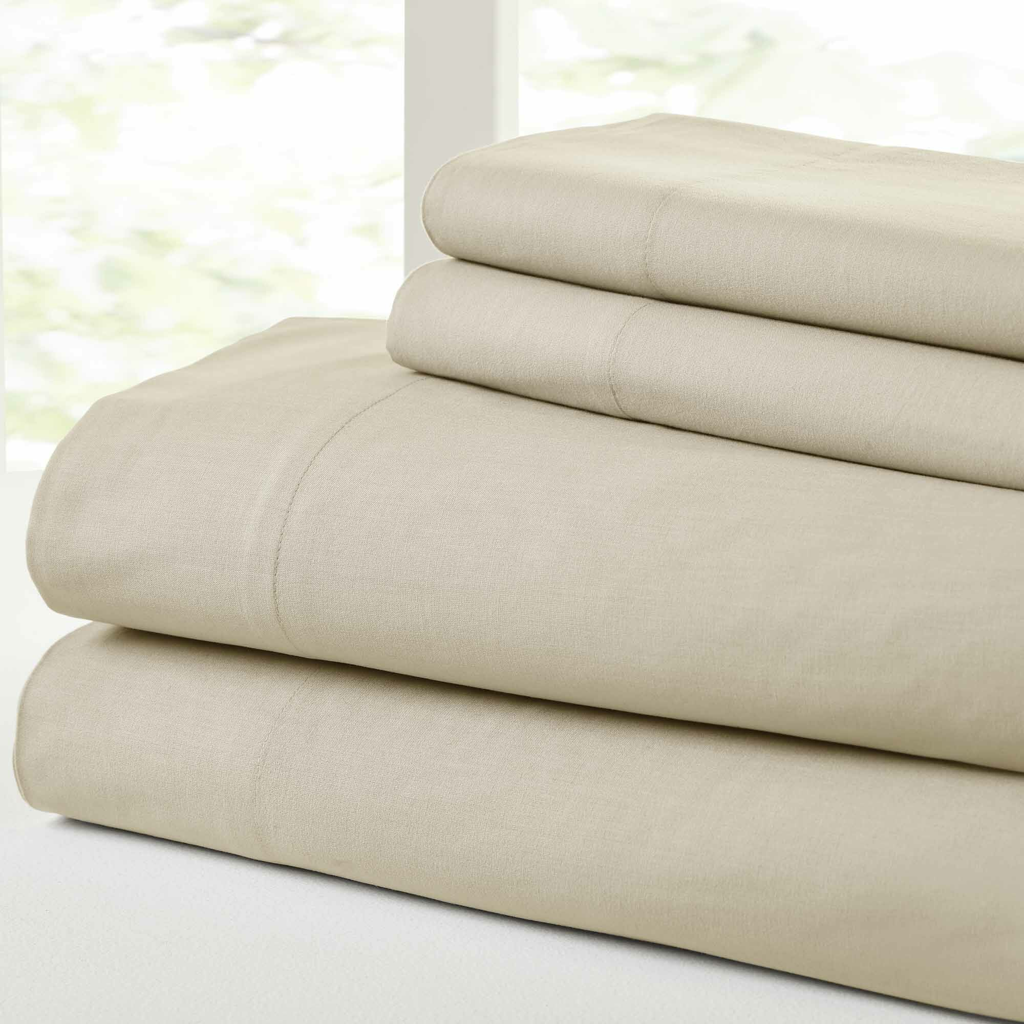 Savion Vintage 100% Cotton Sheet Set Size: King, Color: Sand/Lt. Taupe