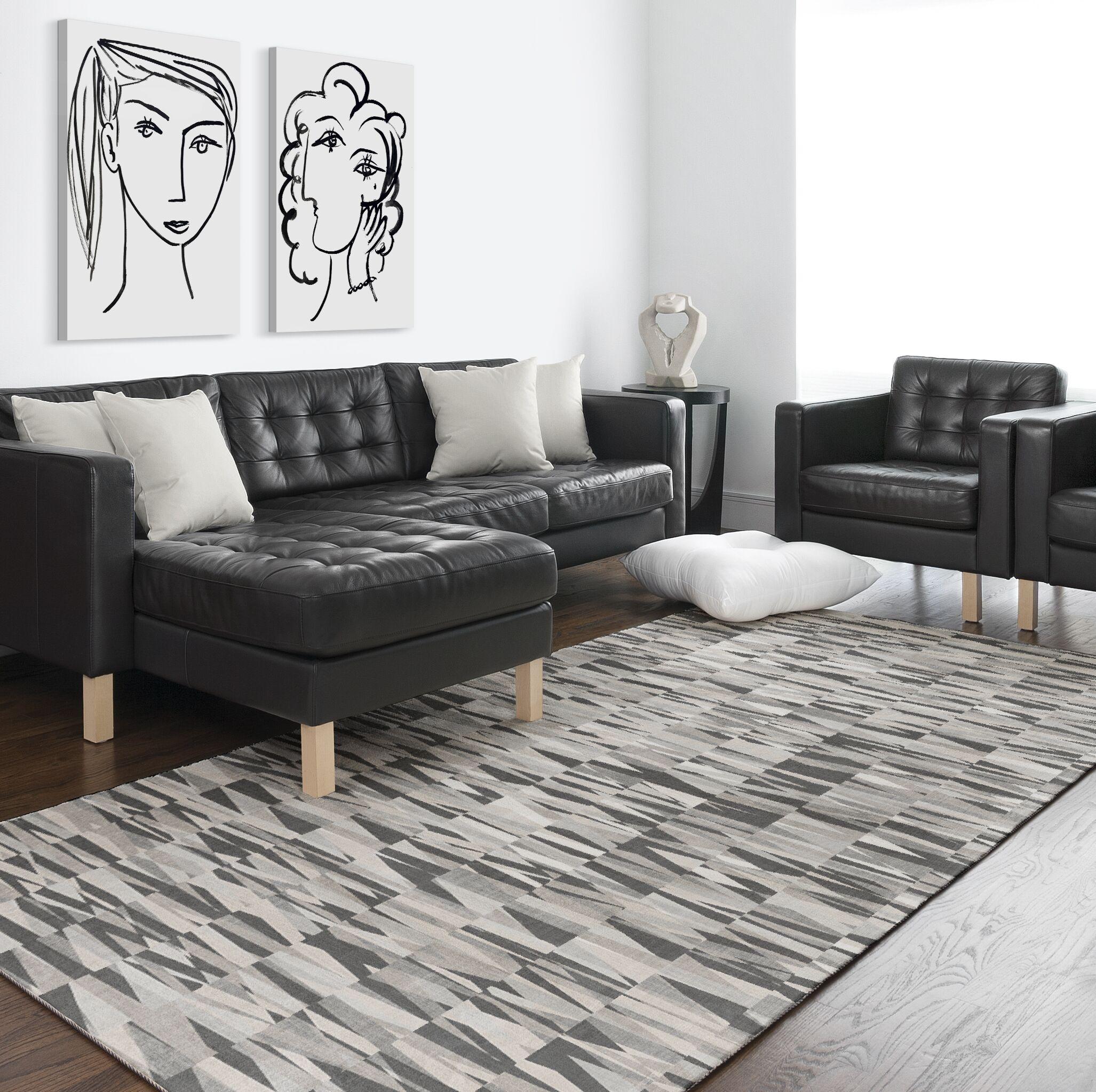 Maris Gray/Black Area Rug Rug Size: Rectangle 8' x 10'