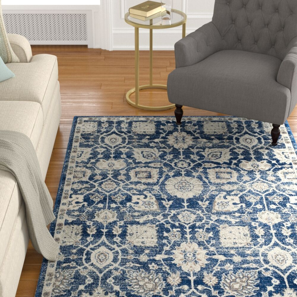 Wayne Navy/Ivory Area Rug Rug Size: Rectangle 8' x 10'